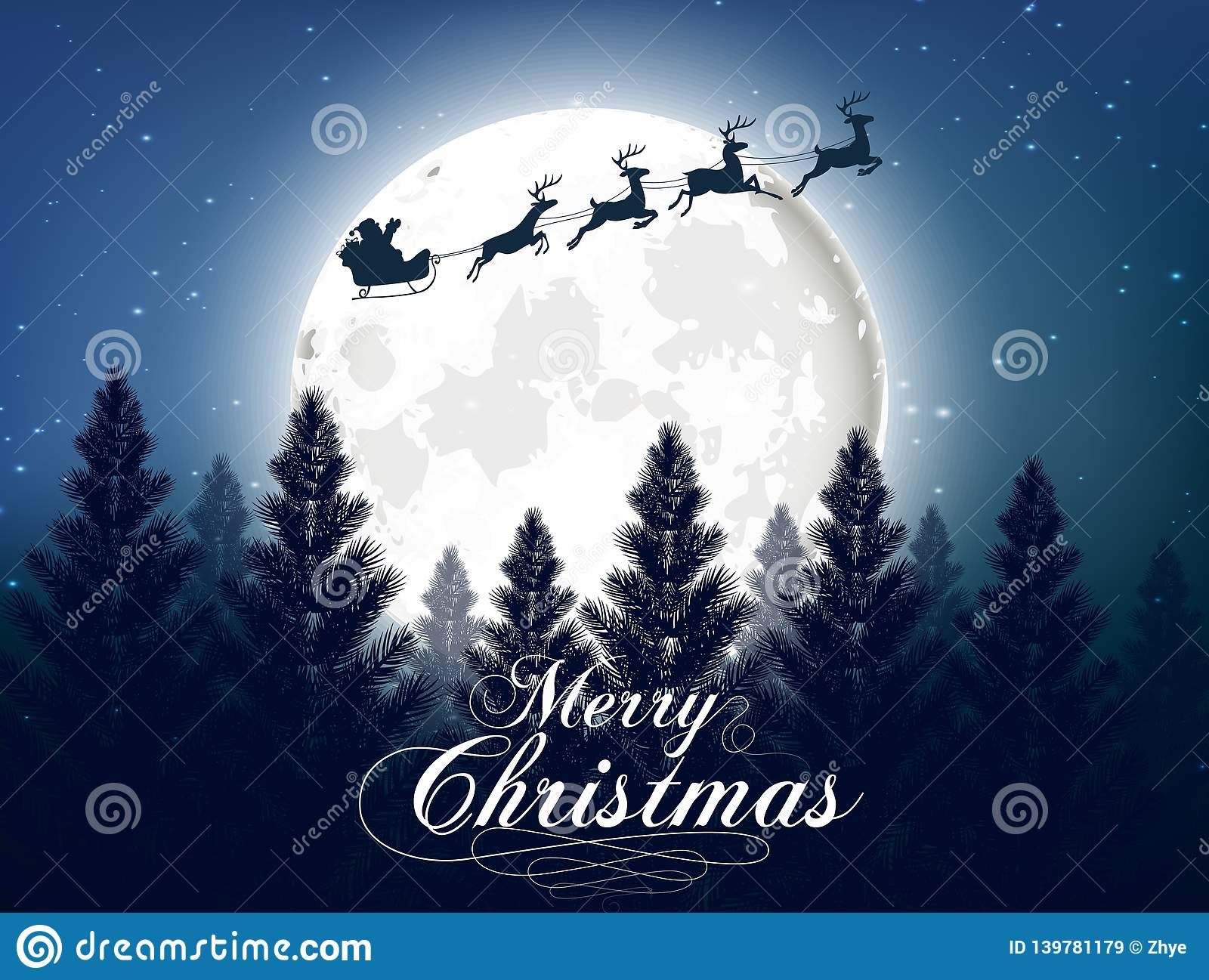 Merry christmas greeting card with big shinny moon in the night forest background