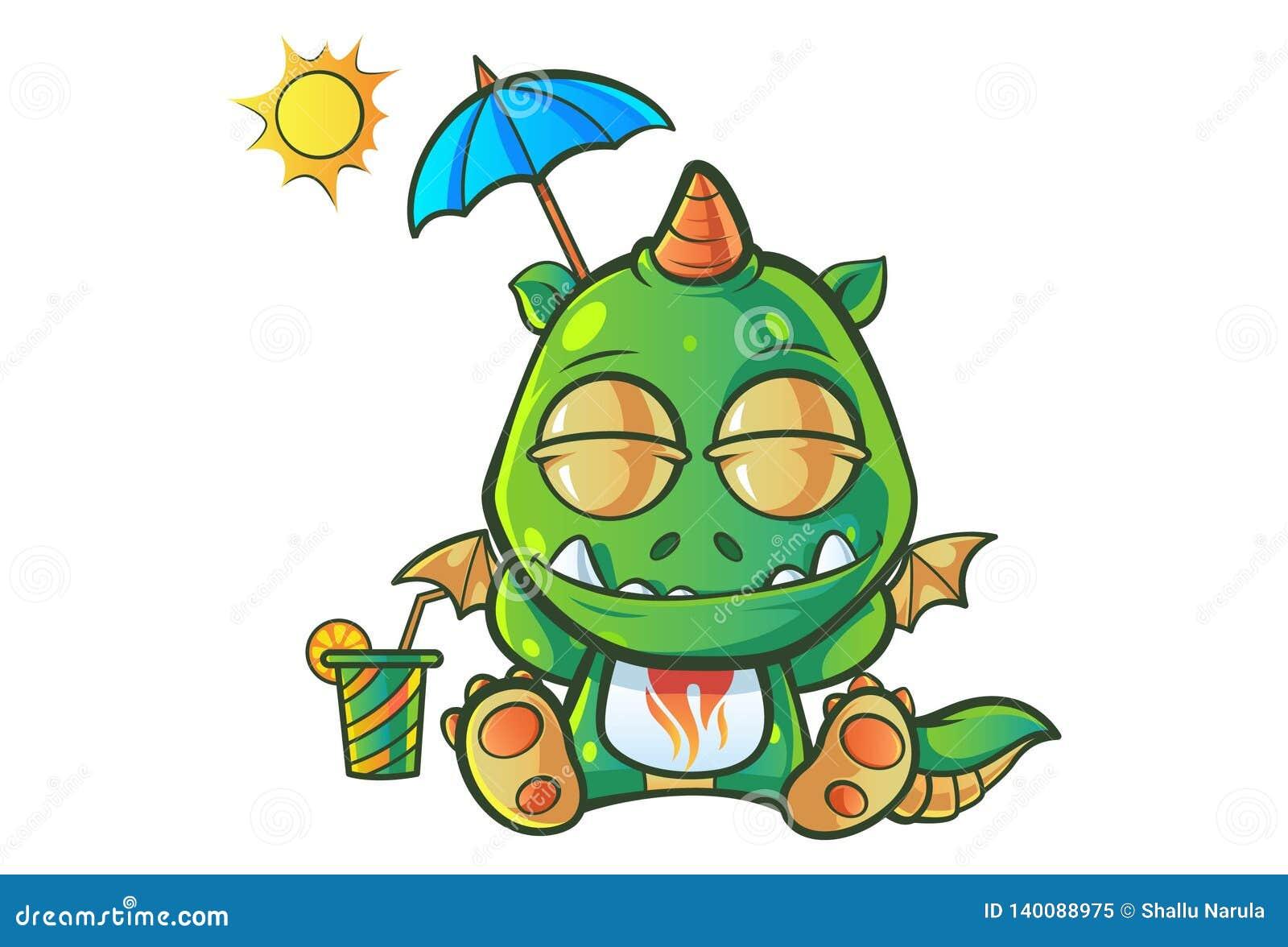Cartoon Illustration Of Cute Baby Dragon Stock Vector Illustration Of Cartoon Dinosaur 140088975