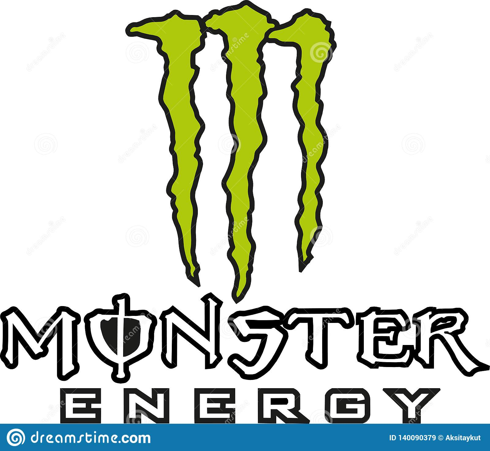 Monster energy logo icon editorial stock image  Illustration