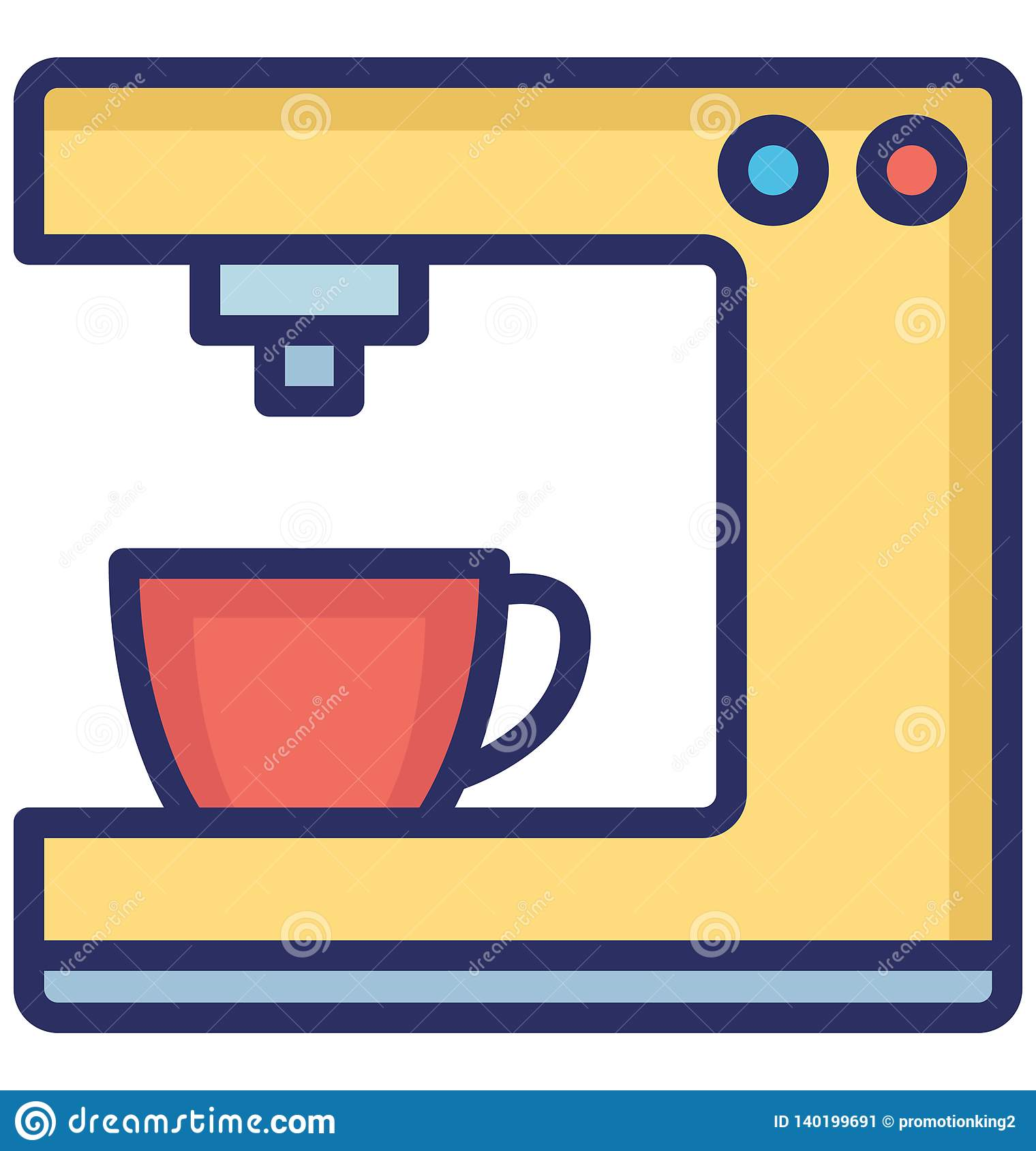 Coffee maker Vector icon which can be easily modified or edit