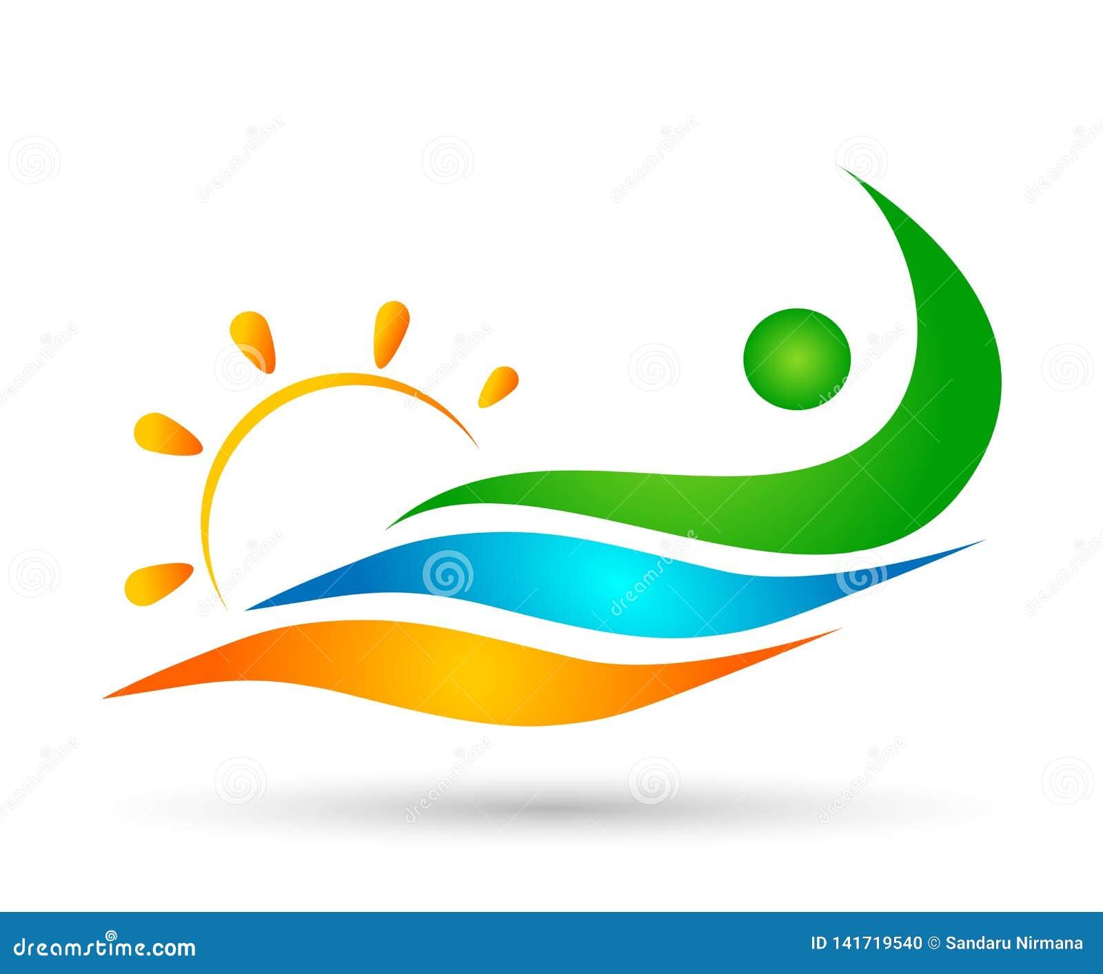 People sun sea wave water wave winning swimming logo team work celebration wellness icon vector designs on white background