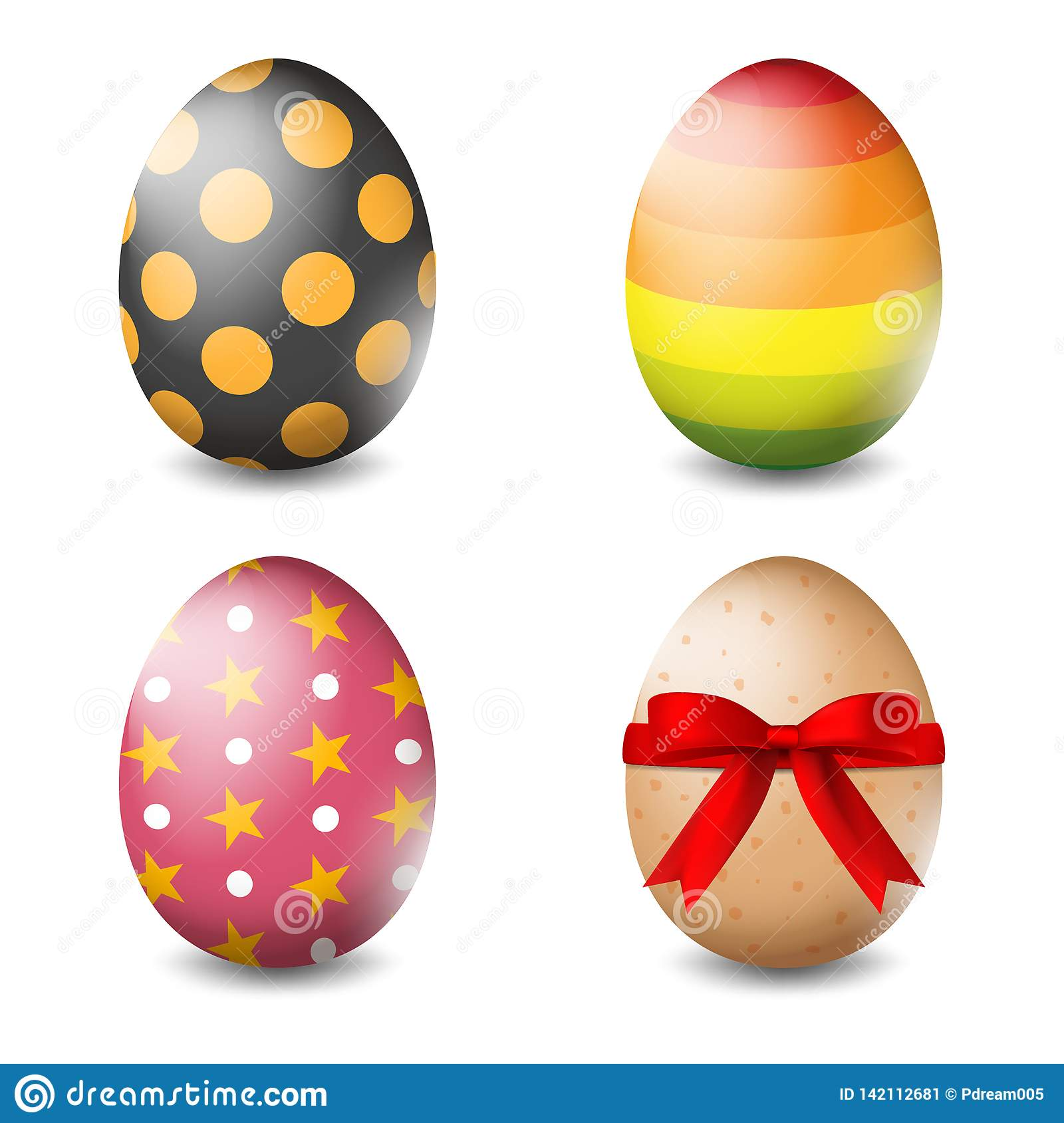 Vector illustration of Easter eggs collection on a white background - Vector