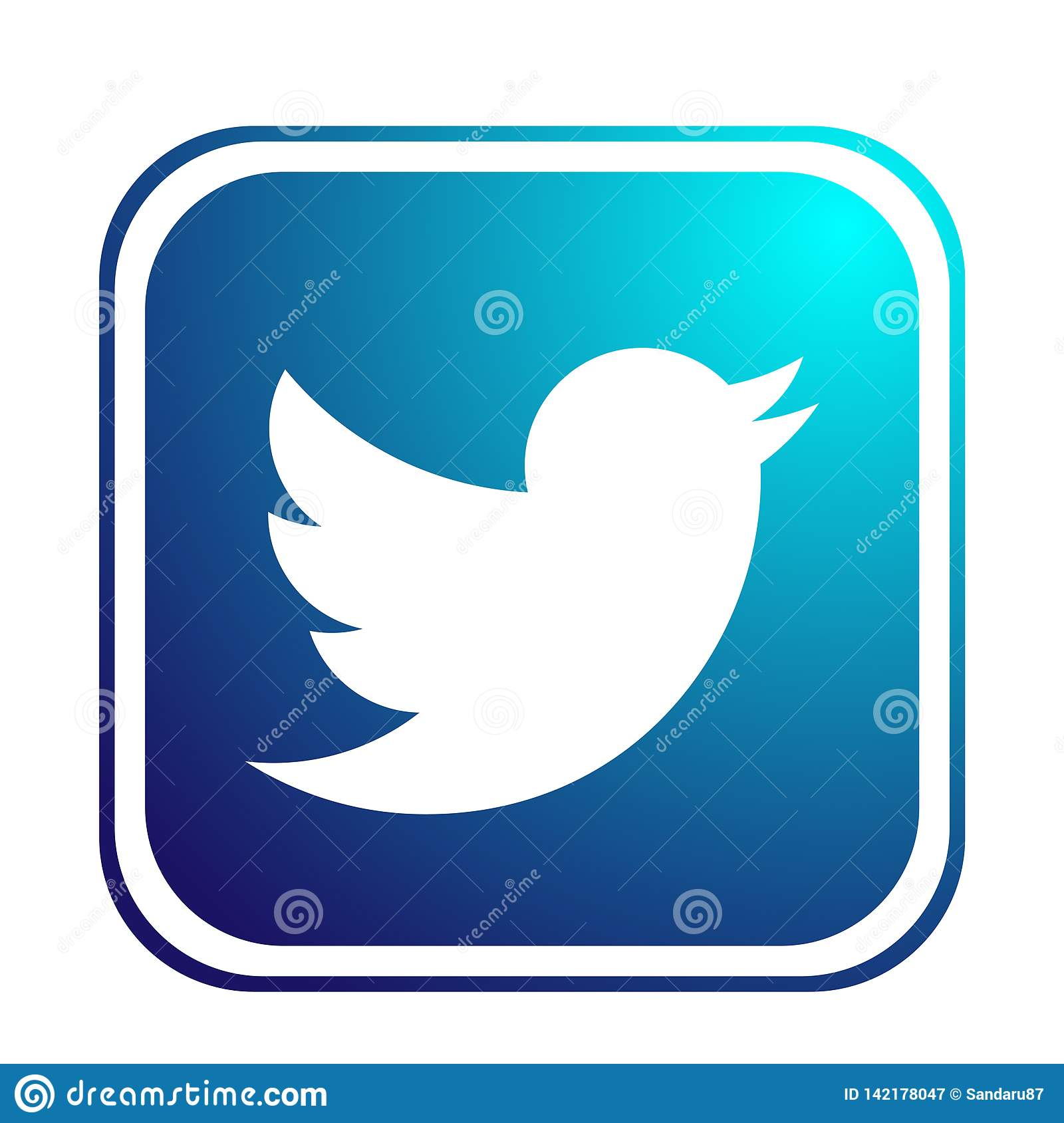Twitter Logo Icon Bird Vector Element On White Background