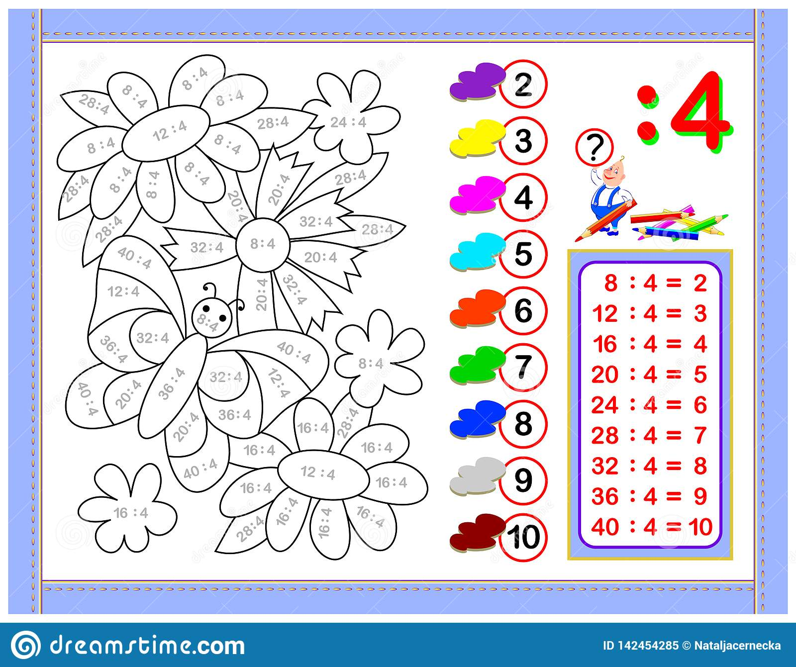 Exercises For Kids With Division By Number 4 Paint The Picture