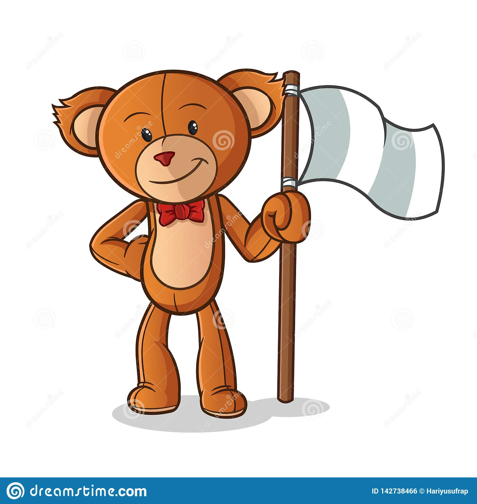Teddy bear holding flag mascot vector cartoon art illustration