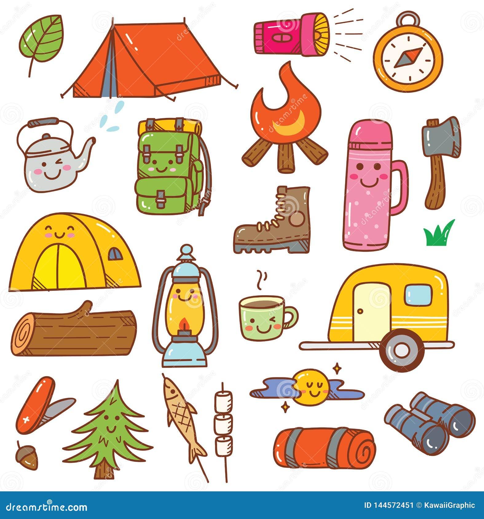 Camping Kawaii Doodle Set Isolated On White Background Stock Illustration Illustration Of Illustration Doodles 144572451