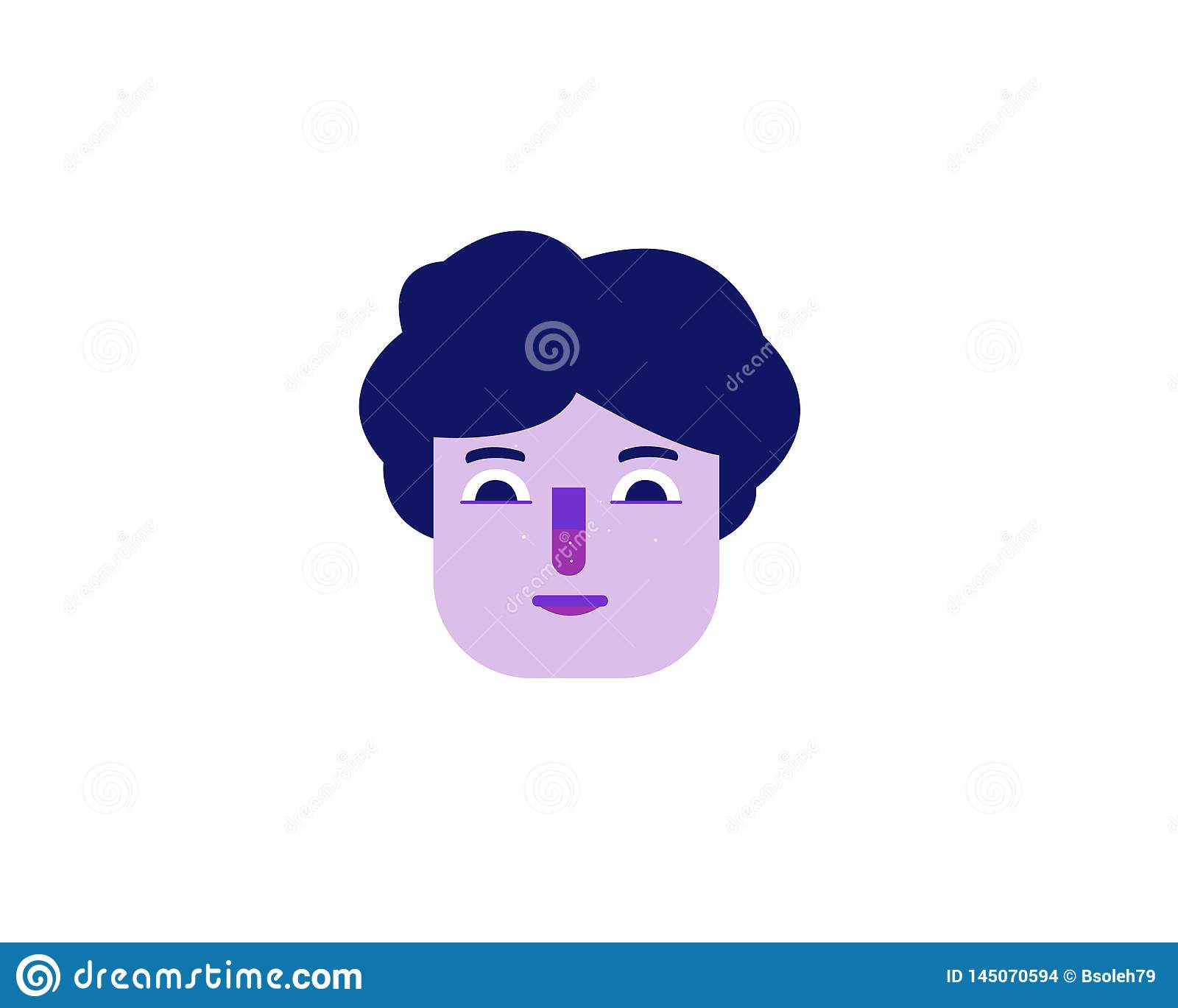 Flat illustration of a purple face of a man