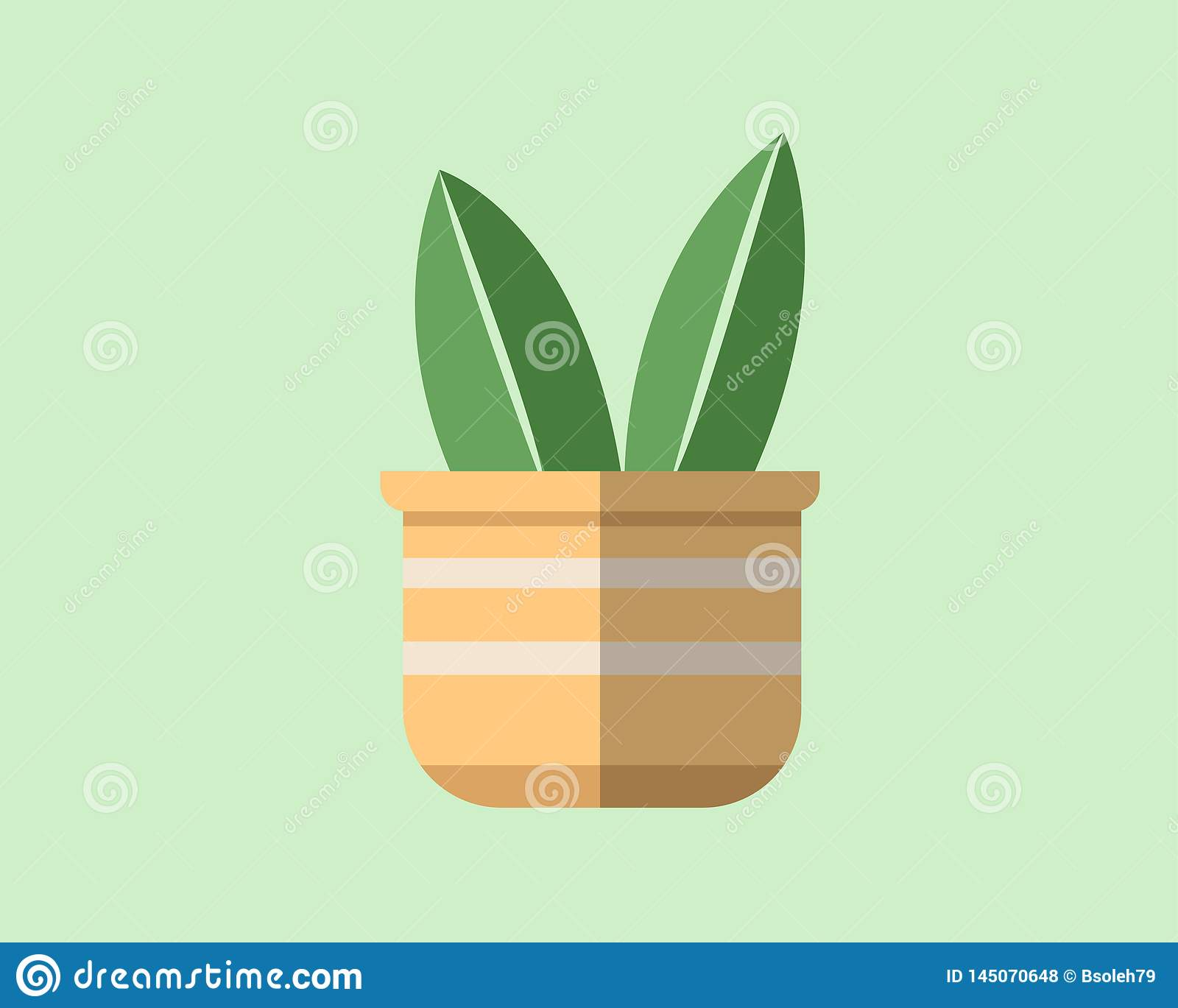Flat design of a plant in a pot