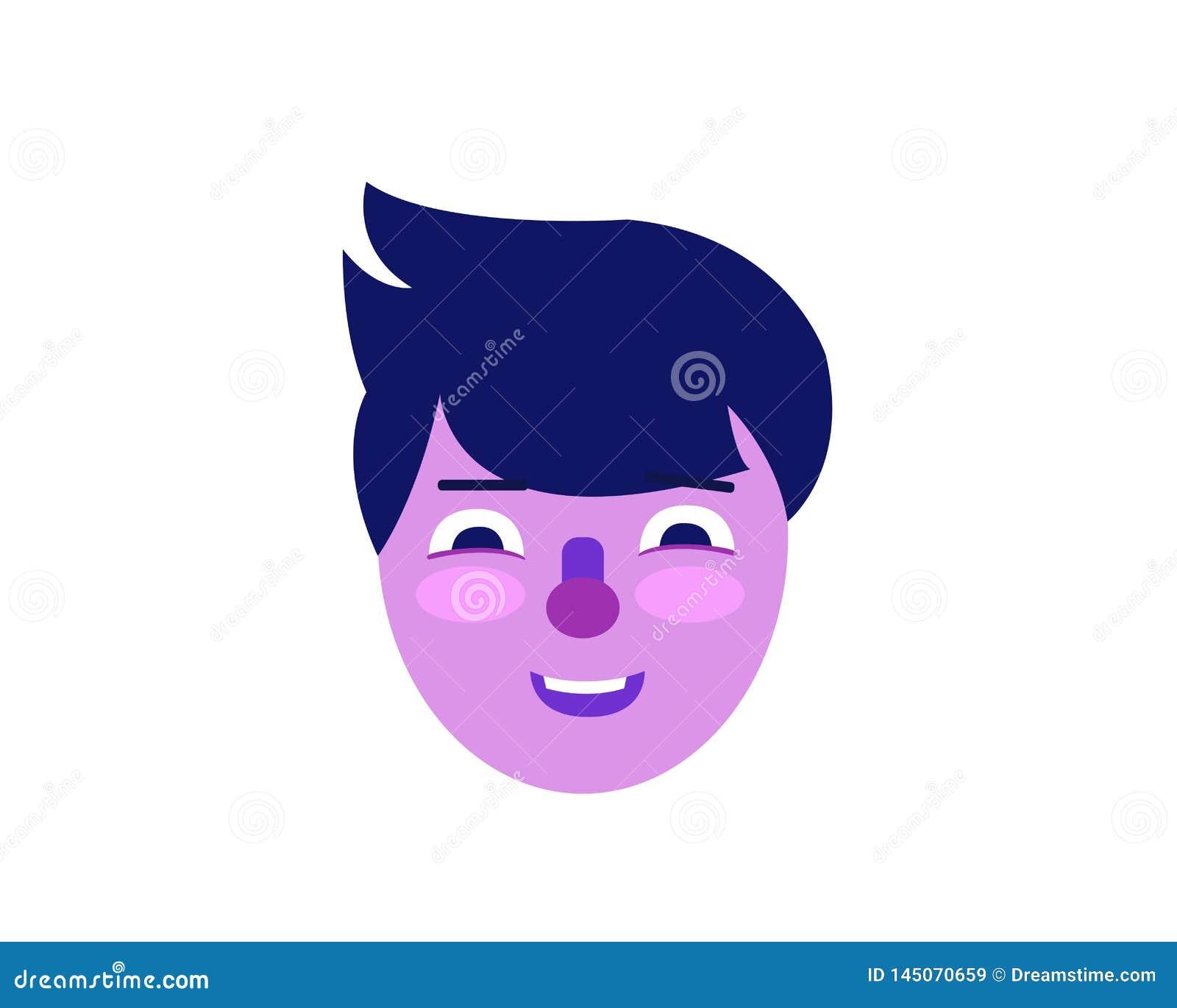 Purple man face illustration in flat style