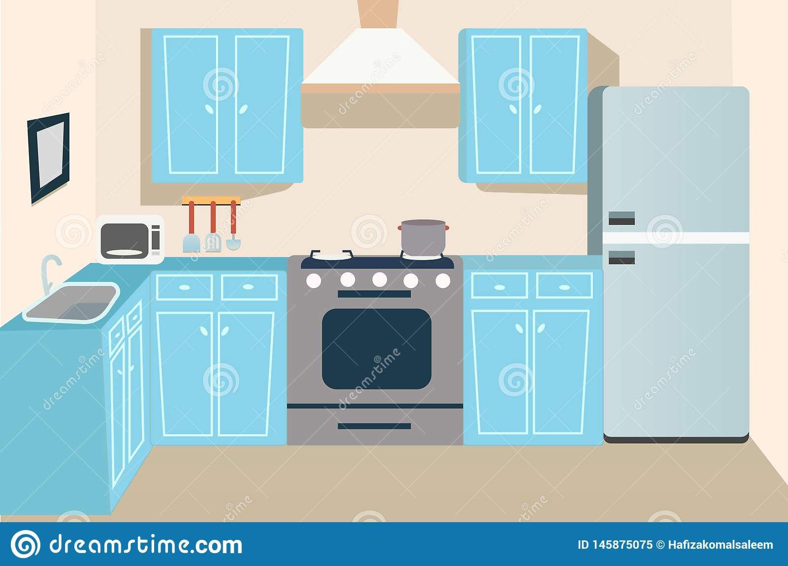 Game And Cartoon Kitchen Background Stock Illustration