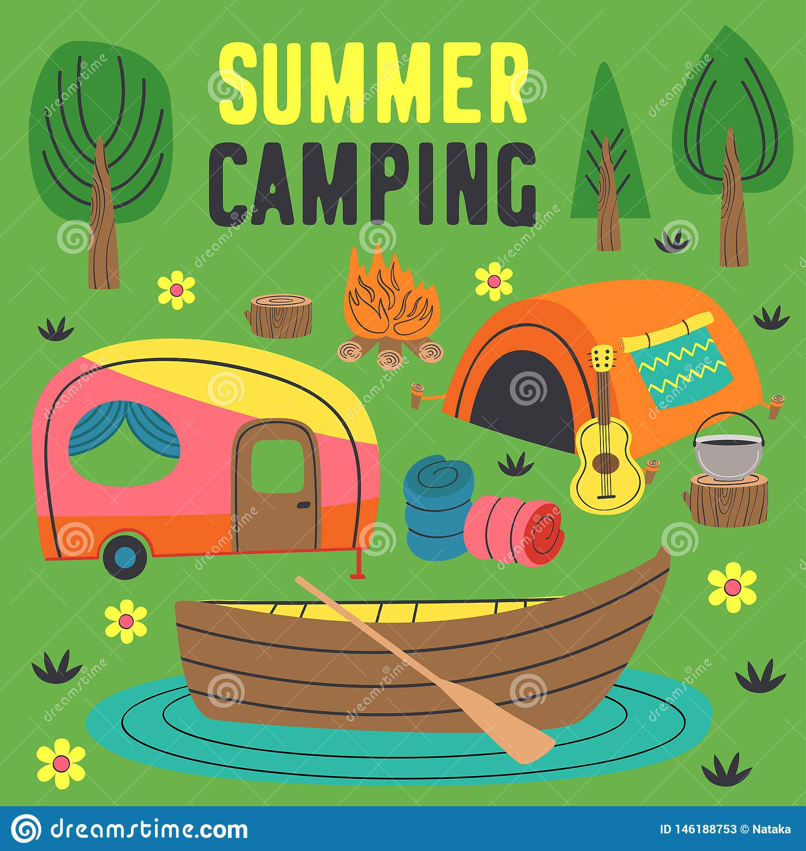 Summer camping poster with a tent, a trailer and a boat