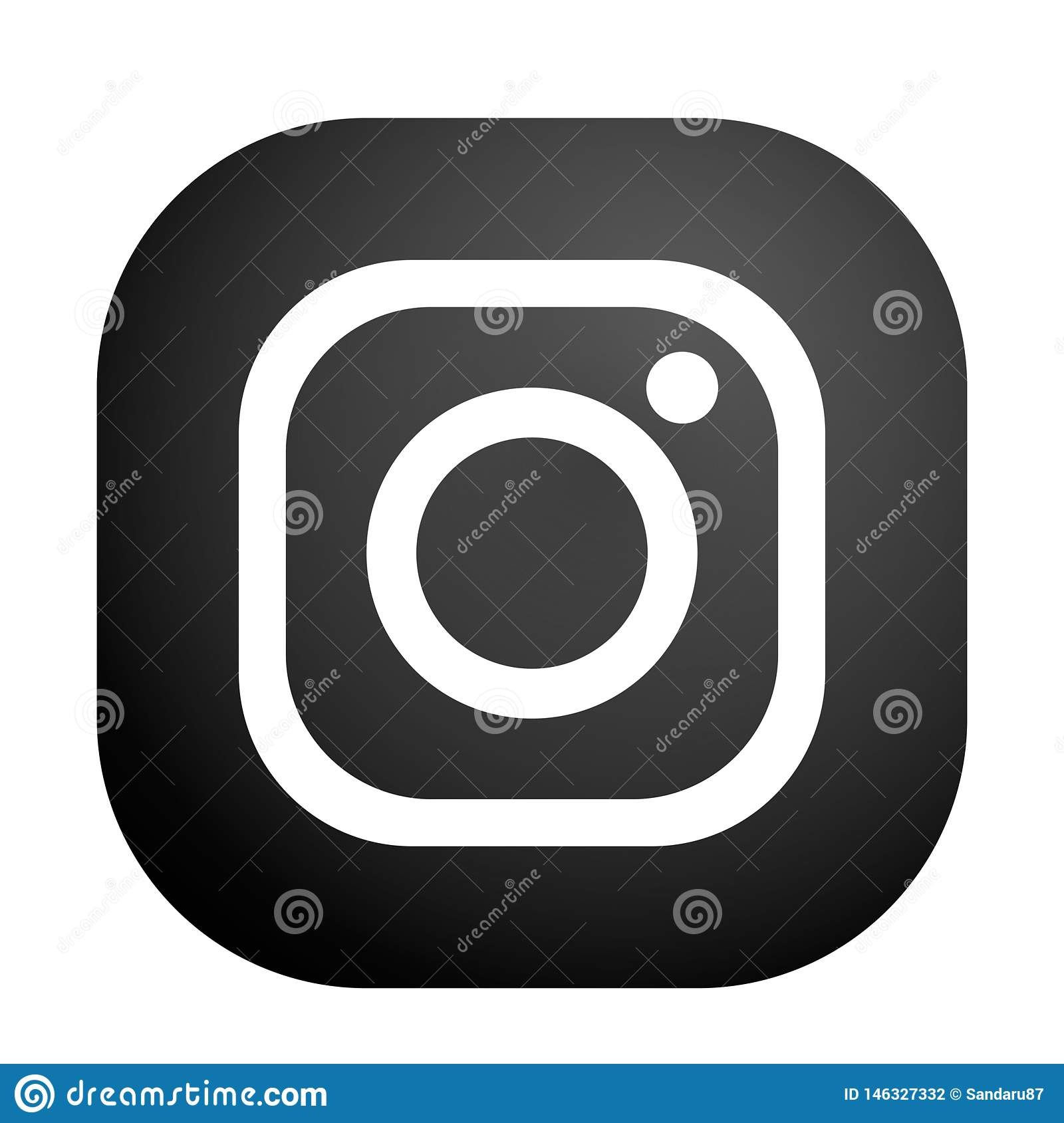 New instagram camera logo icon in black vector with modern