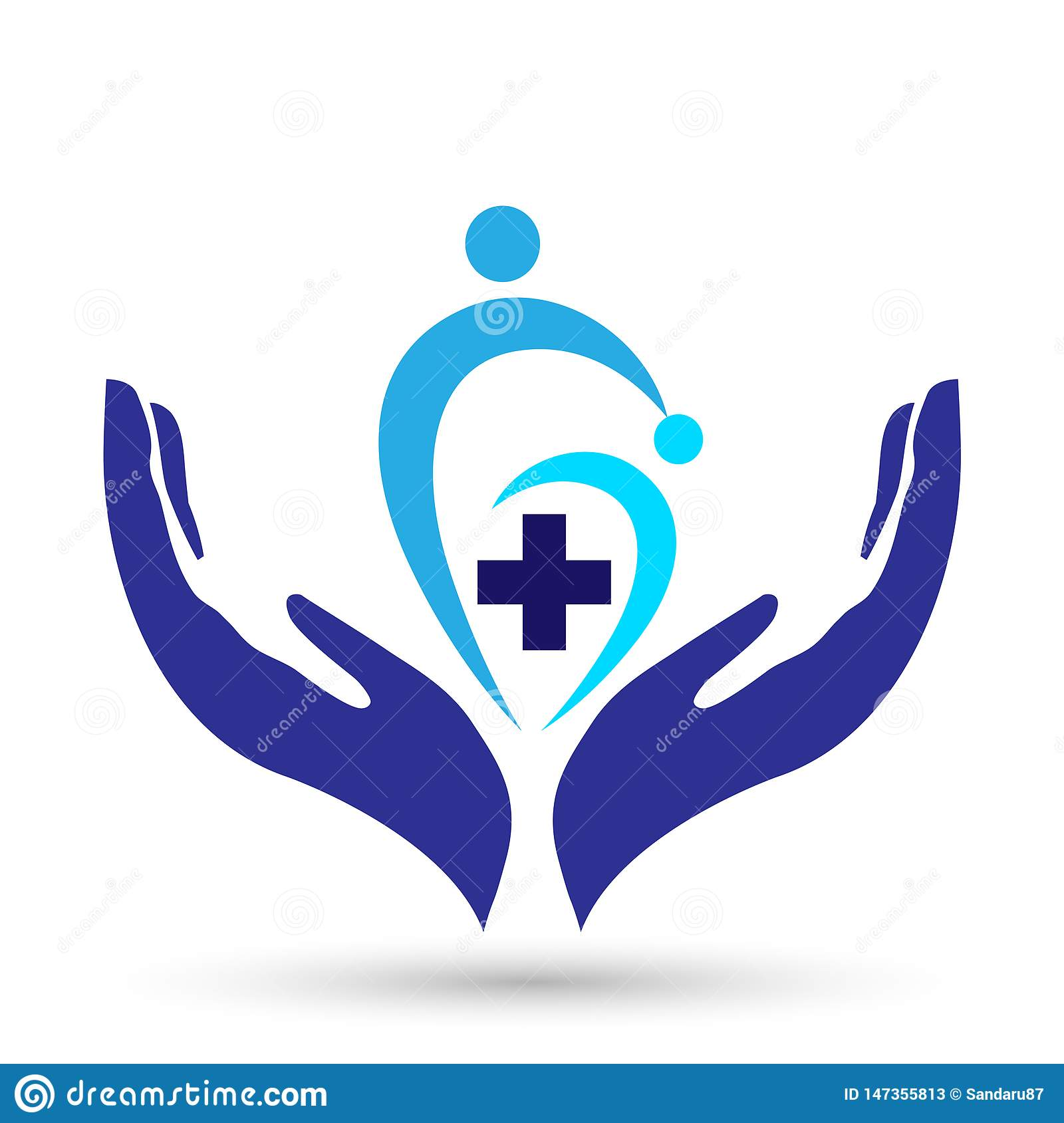 Family medical healthy life cross clinic hands care logo parent kids love, protect symbol icon design vector on white background
