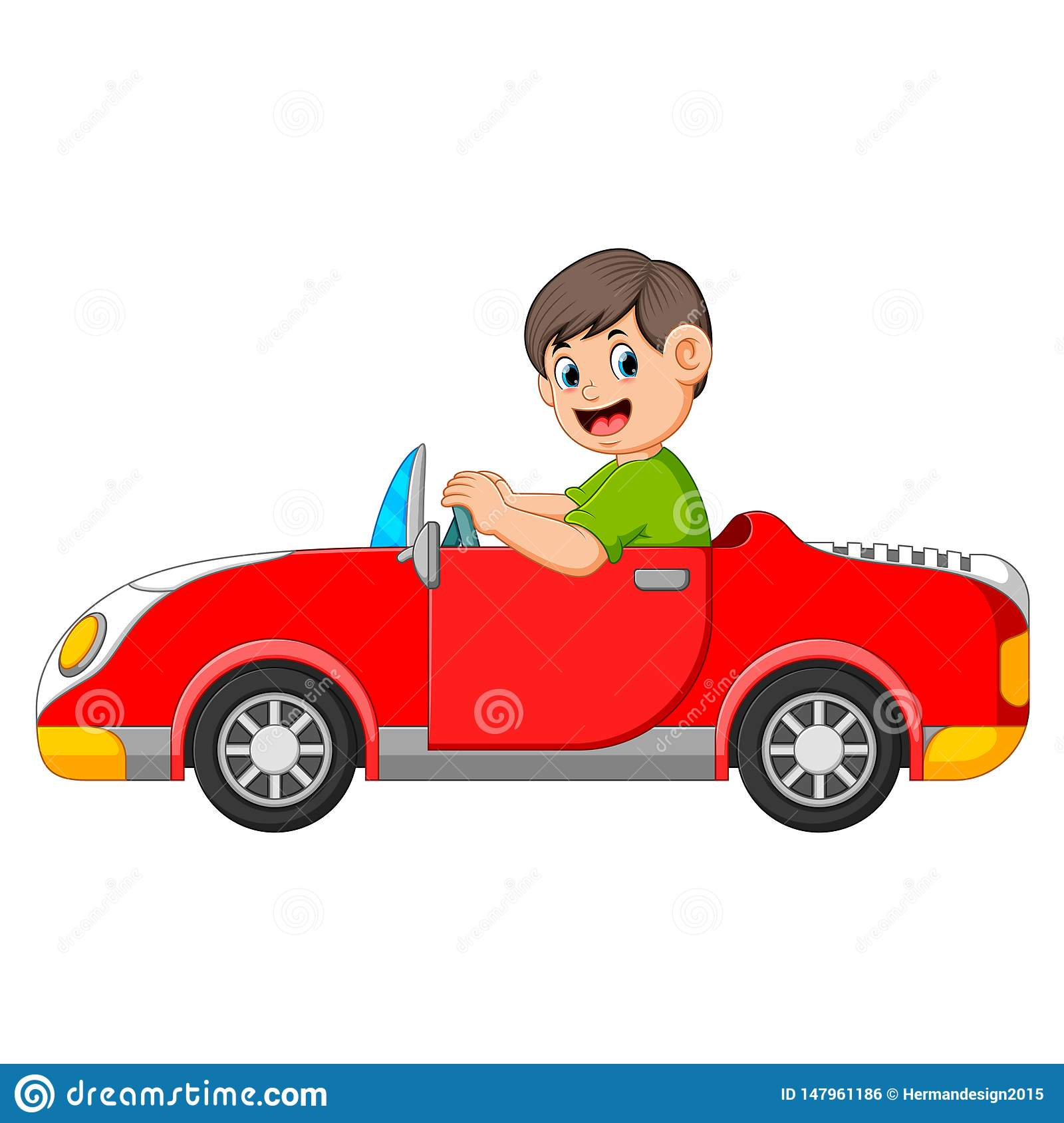 The boy is driving the red car with the good posing