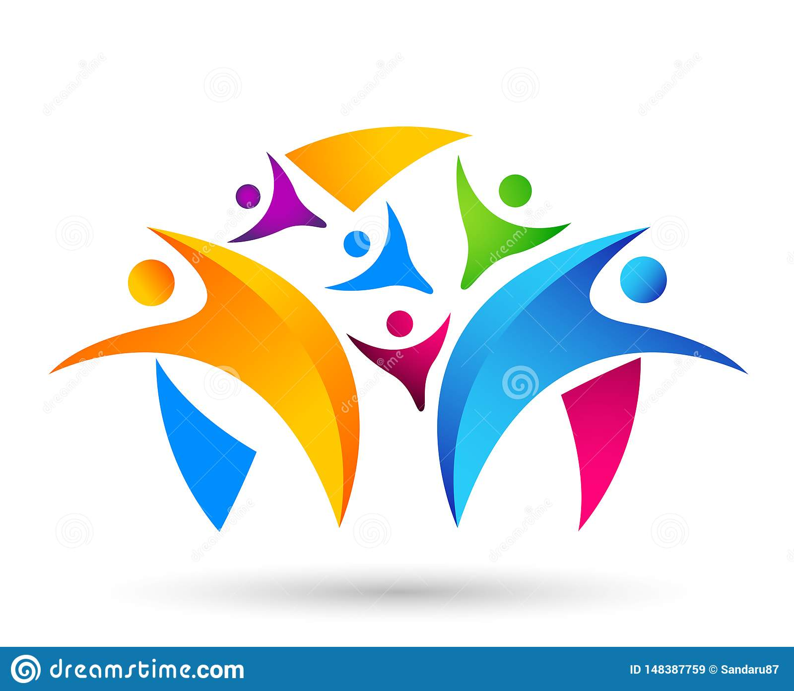 People union team work celebrating happiness wellness celebration logo healthy symbol icon element logo design on white background