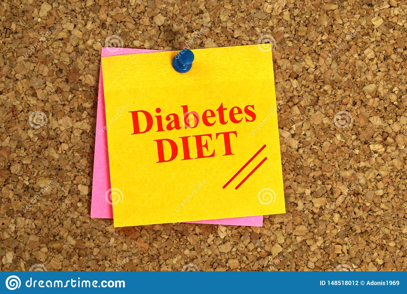 Diabetes DIET Written On Yellow Note With Push Pin On Cork Board