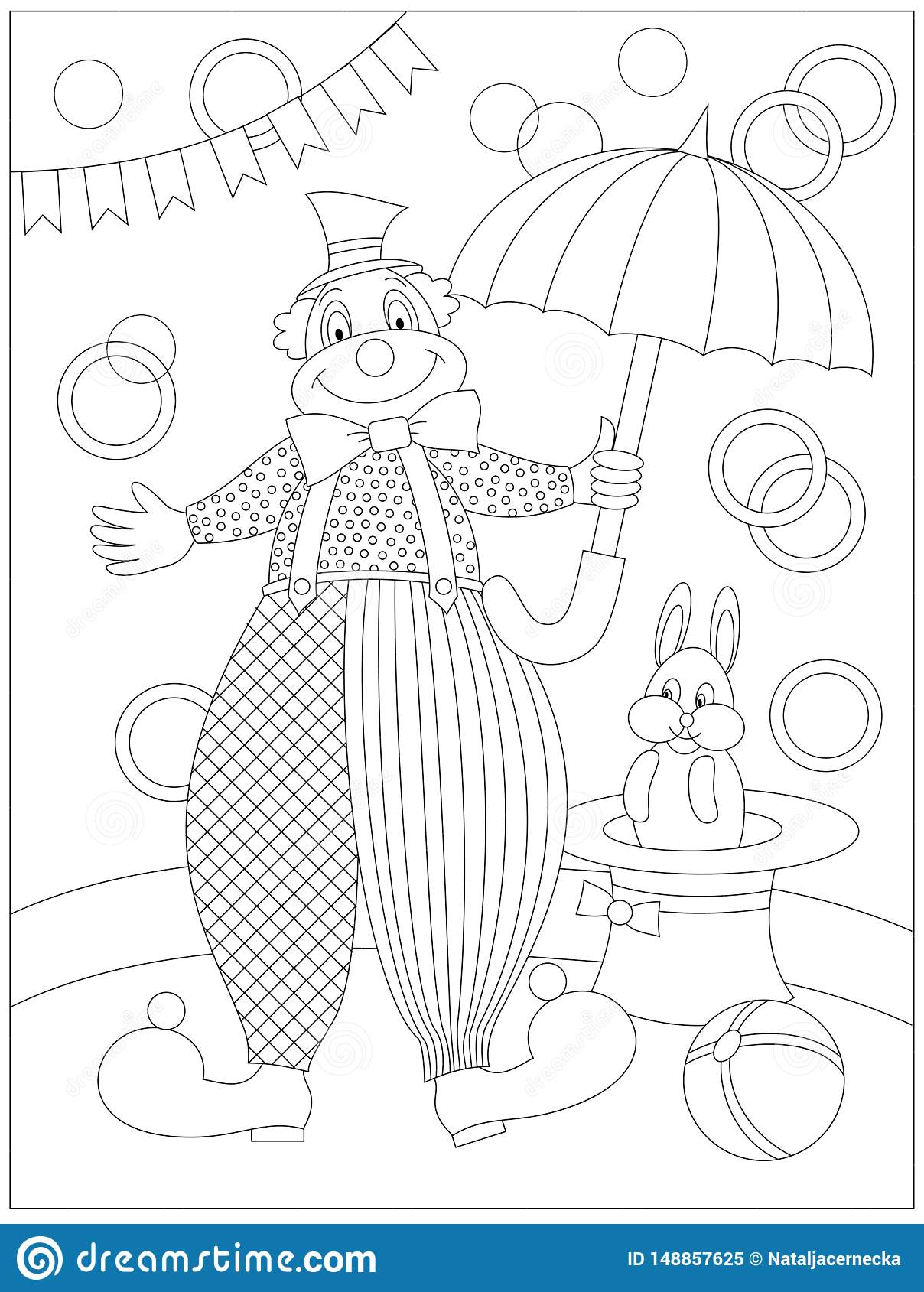 Black And White Page For Baby Coloring Book. Drawing Of ...