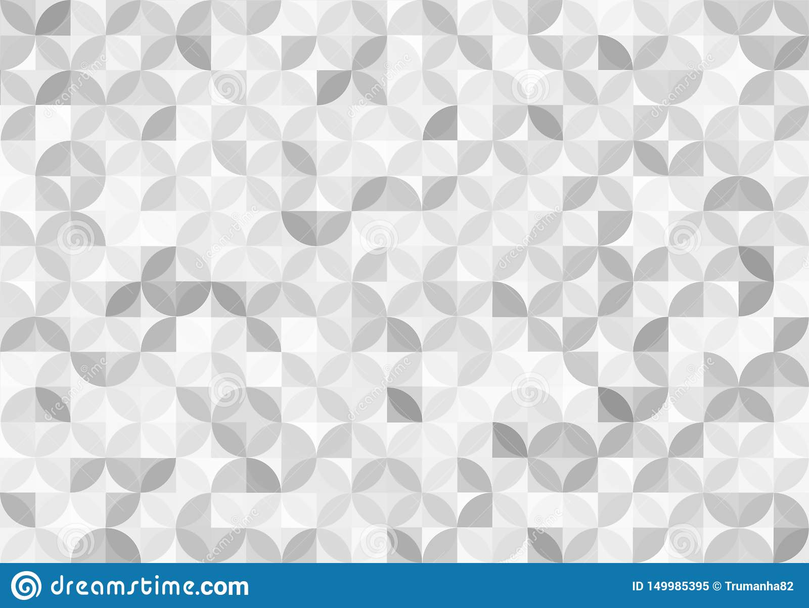 Abstract Seamless Shiny Grey Circles and Squares Pattern Background