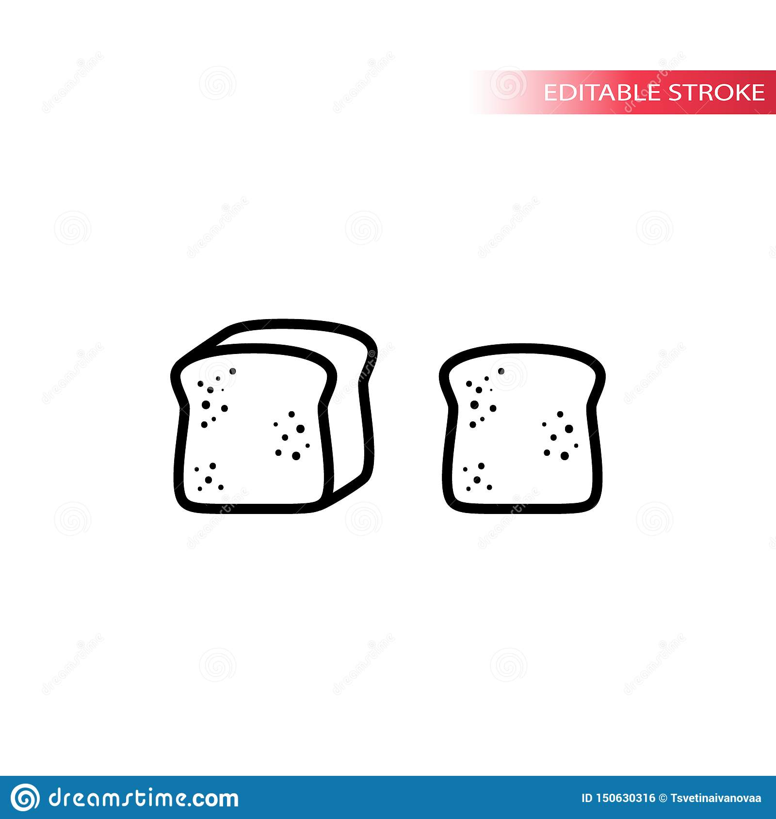 Bread, loaf and sliced toast bread thin line icon set. Slice of bread outline vector symbol set