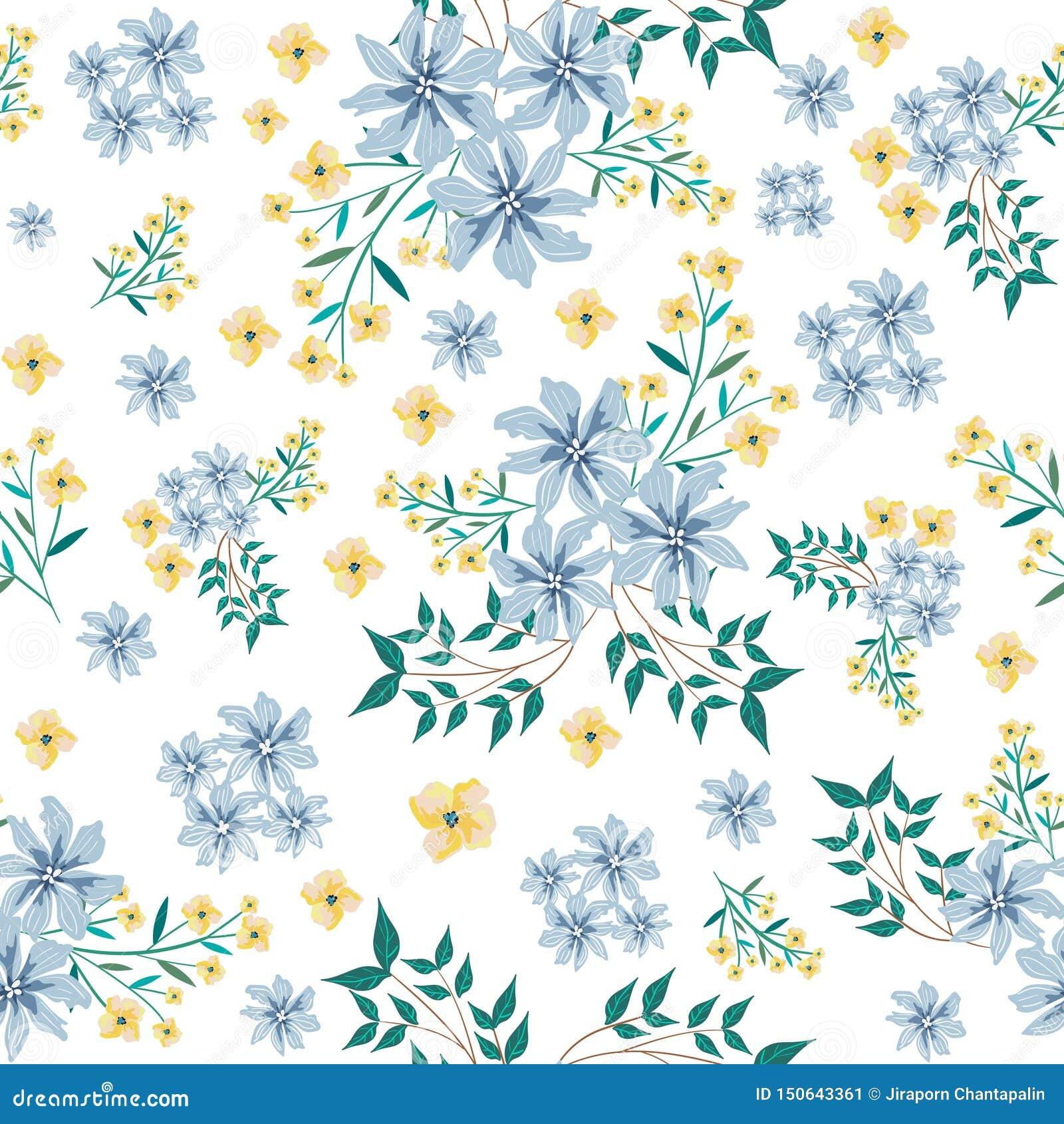 Blue and yellower flower seamless pattern