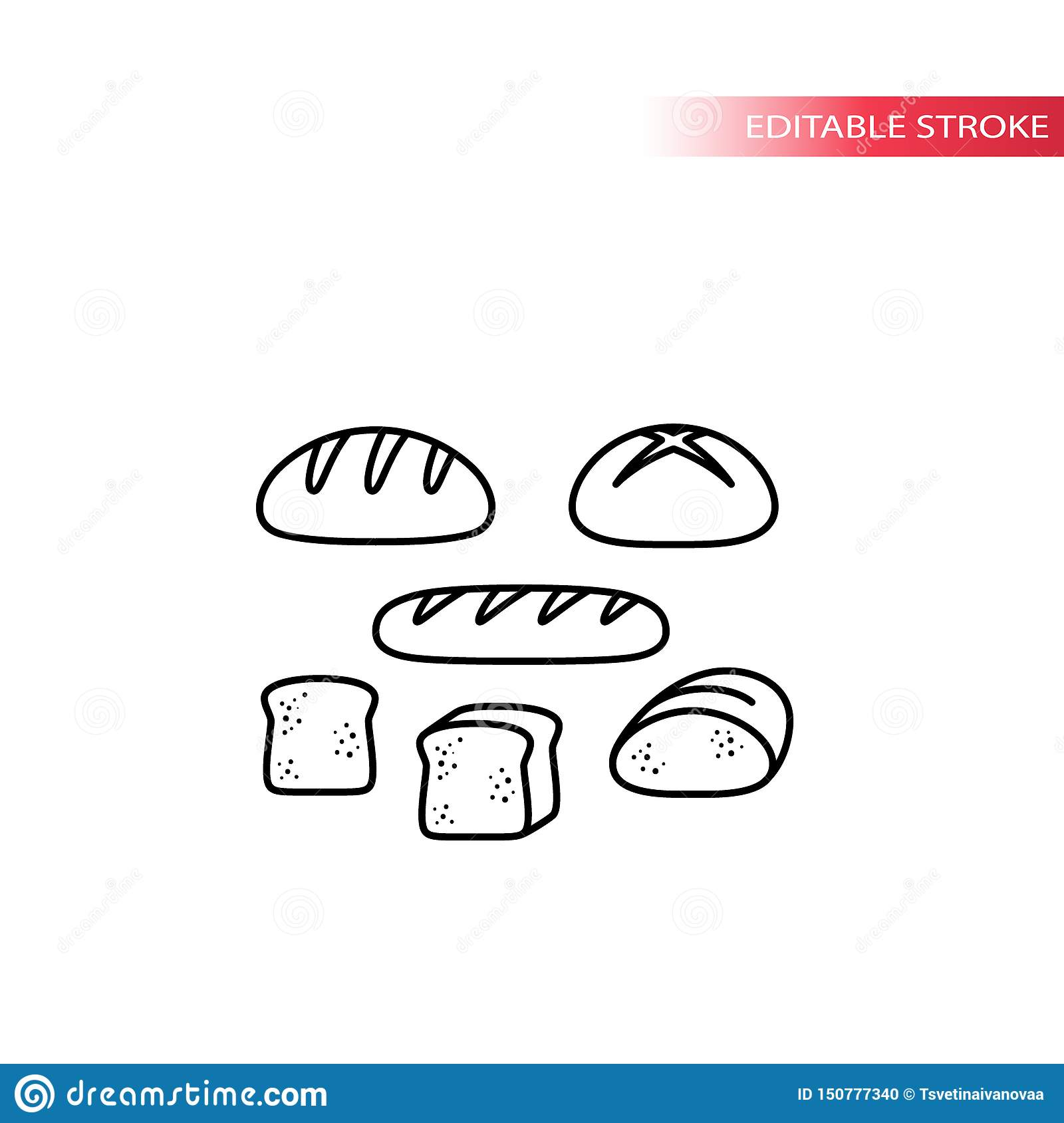 Bread types, french loaf, sliced toast thin line icon set. Bread set, slice of bread vector outline symbols