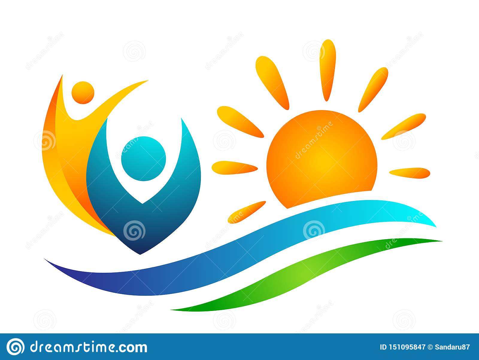 Sun beach water wave people team work union wellness celebration boat concept symbol icon design vector on white background