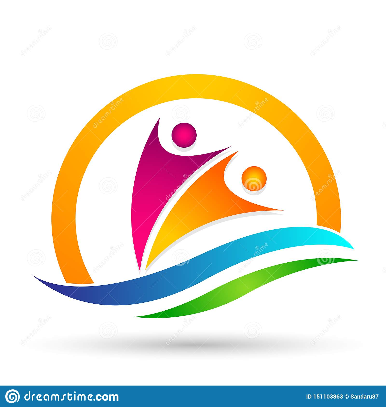 People sun sea wave water wave winning swimming logo team work celebration wellness icon vector designs on white background