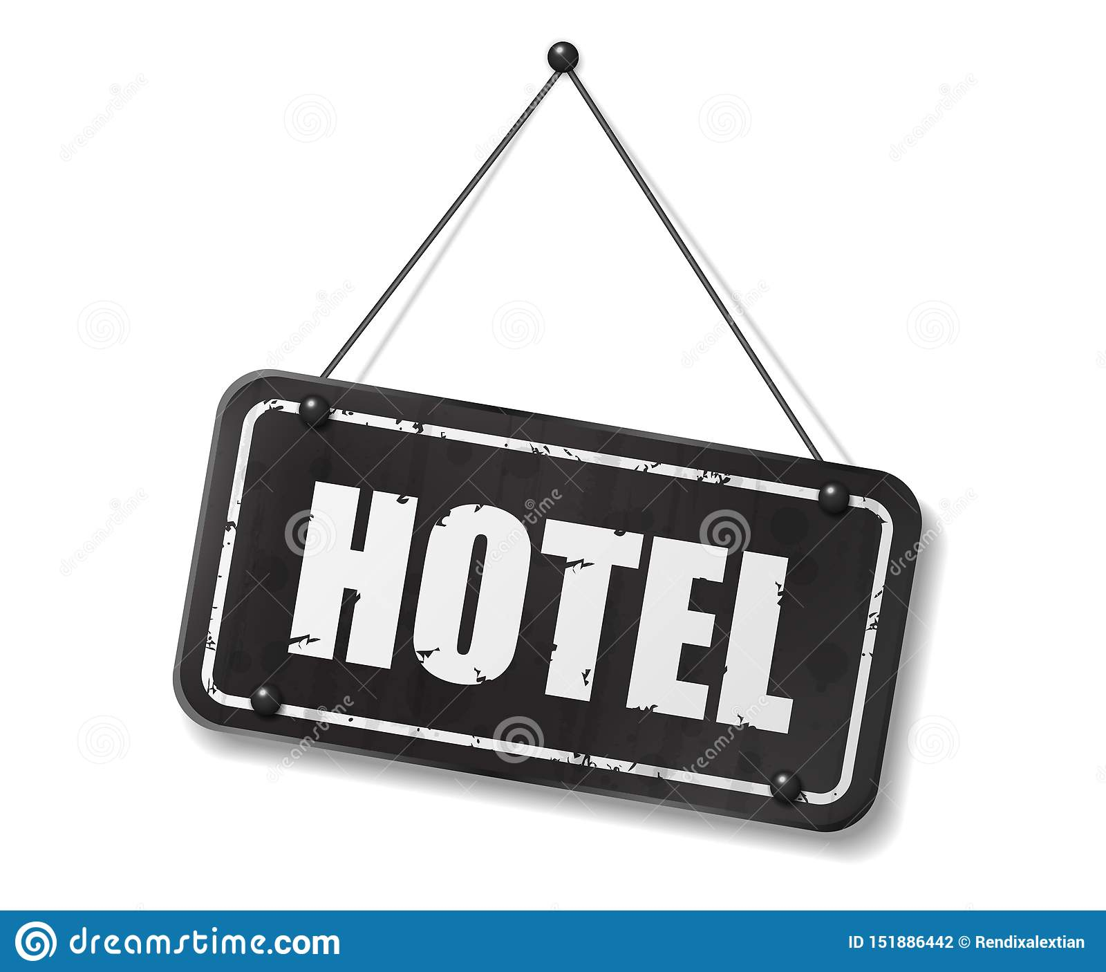 Vintage Old Black Sign With Hotel Text Stock Vector