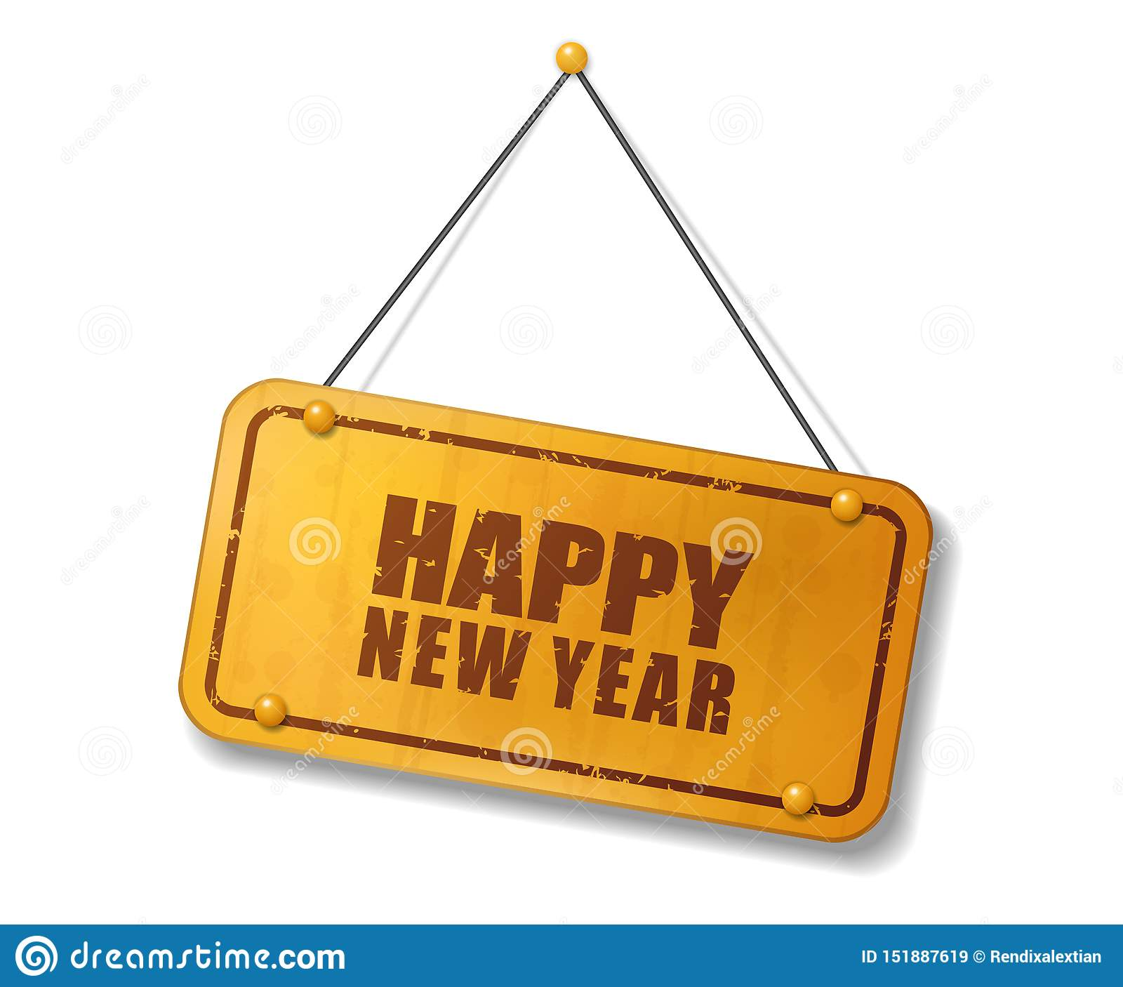 Vintage Old Gold Sign With Happy New Year Text Stock Vector