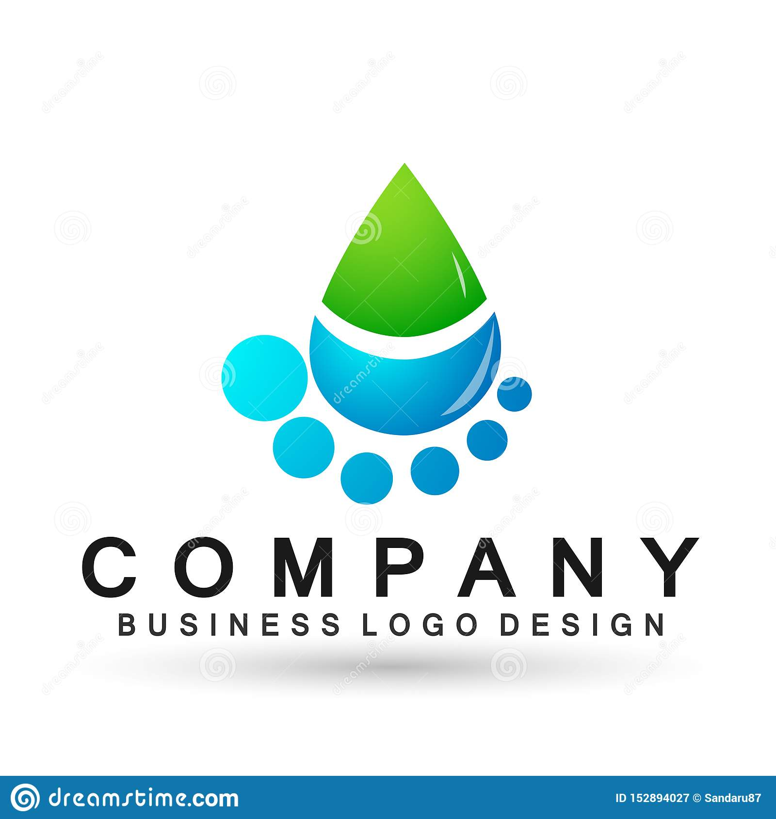 Water drop logo hand care people nature oil healthy and water symbol design on white background