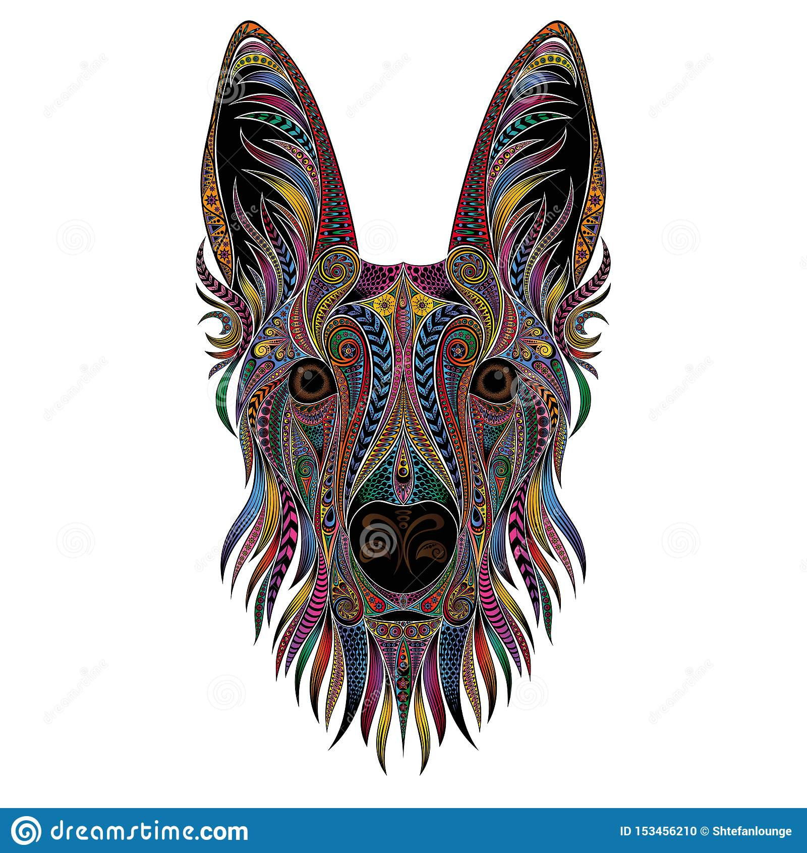 Shepherd portrait from color patterns. Vector illustration