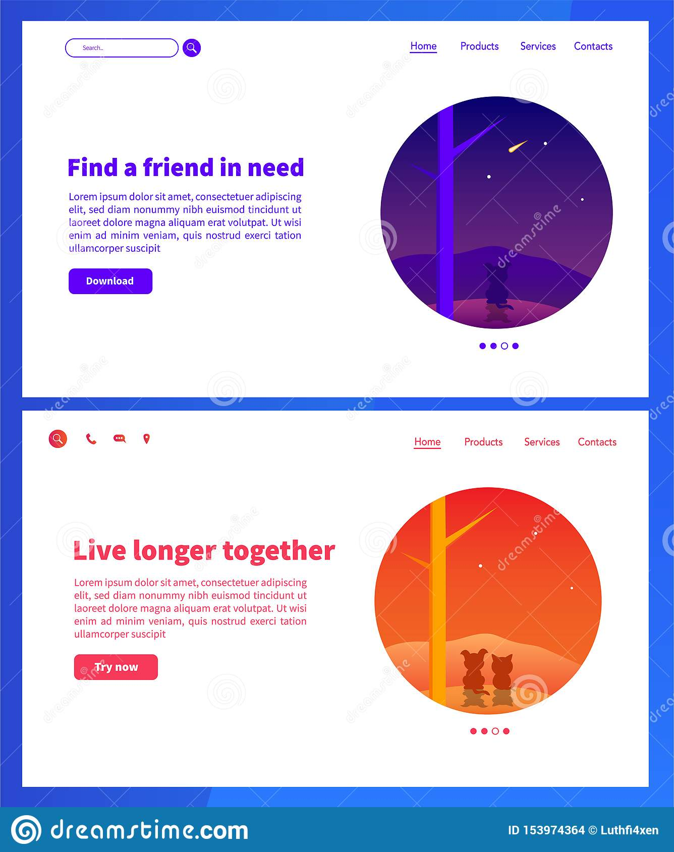 Animals web pages design. Landing pages design with blue and orange gradient