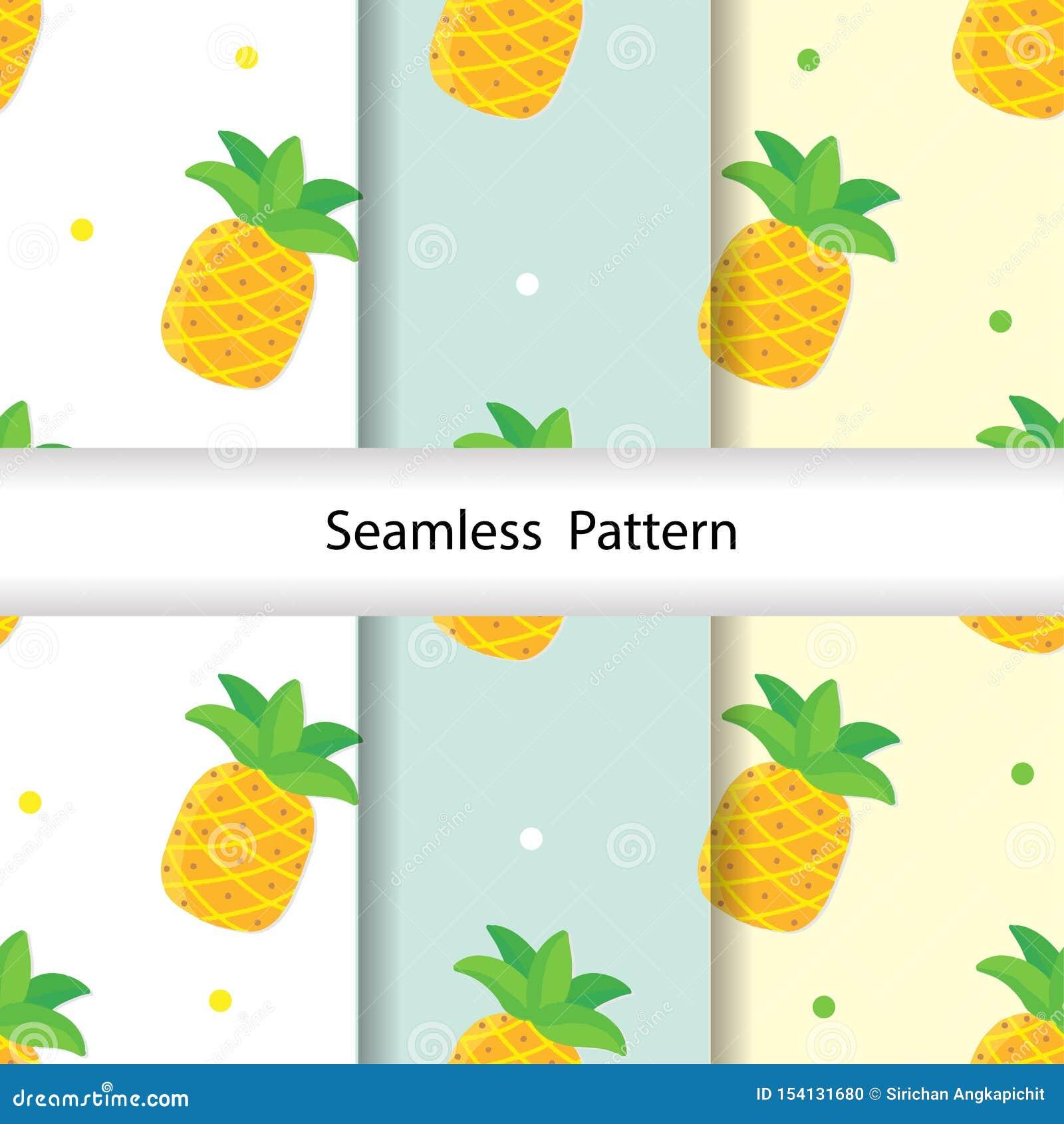 Kawaii Pineapples Pattern Vector Illustration Stock