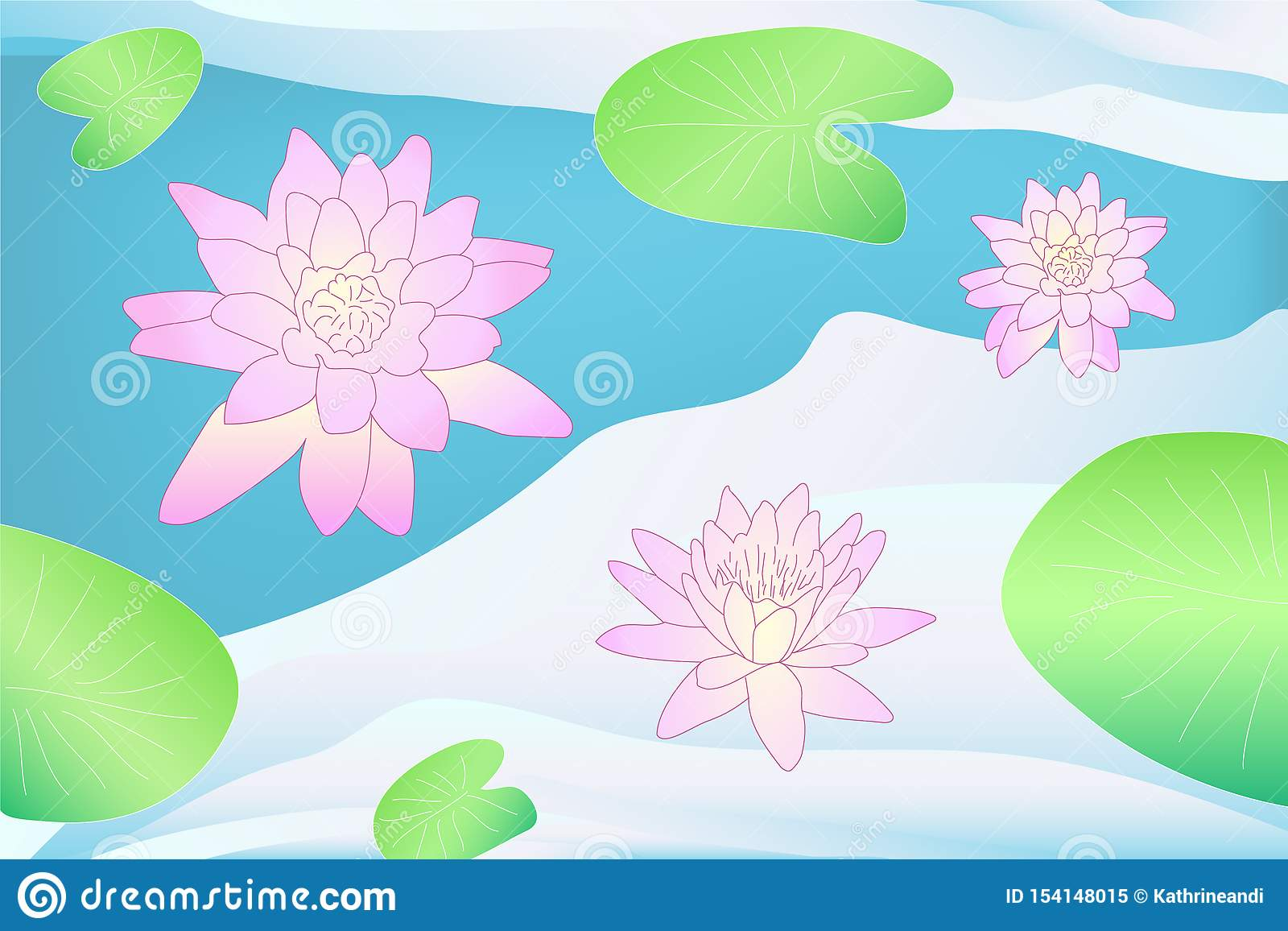 Colorful vector lotus on the water with leaves