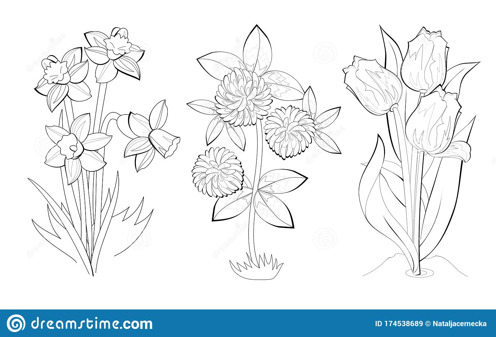 - Black And White Page For Baby Coloring Book. Set Of Illustrations