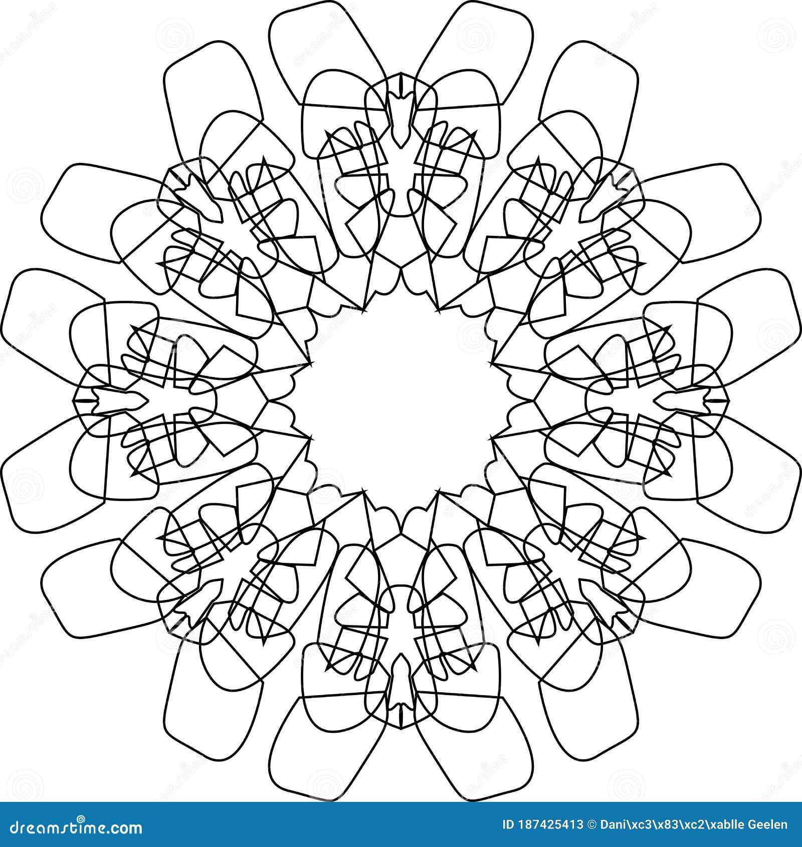 - Mandala, Star Ice Flake Scribble Drawing Doodle, Vector Drawing Of