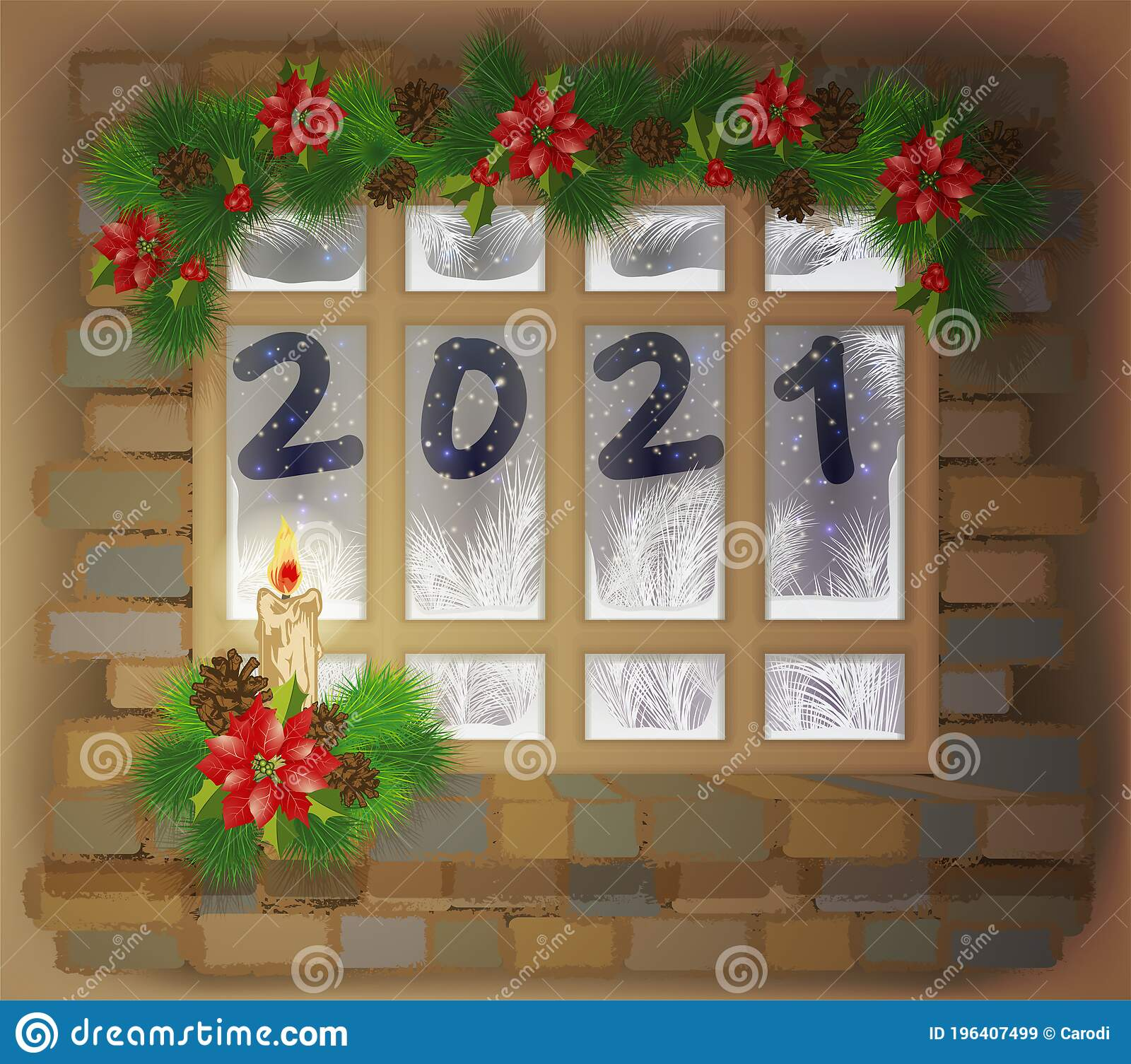 Poinsettias For Christmas 2021 Happy New 2021 Year Window With Xmas Tree Red Flower Poinsettia And Candle Stock Vector Illustration Of Frame Festive 196407499
