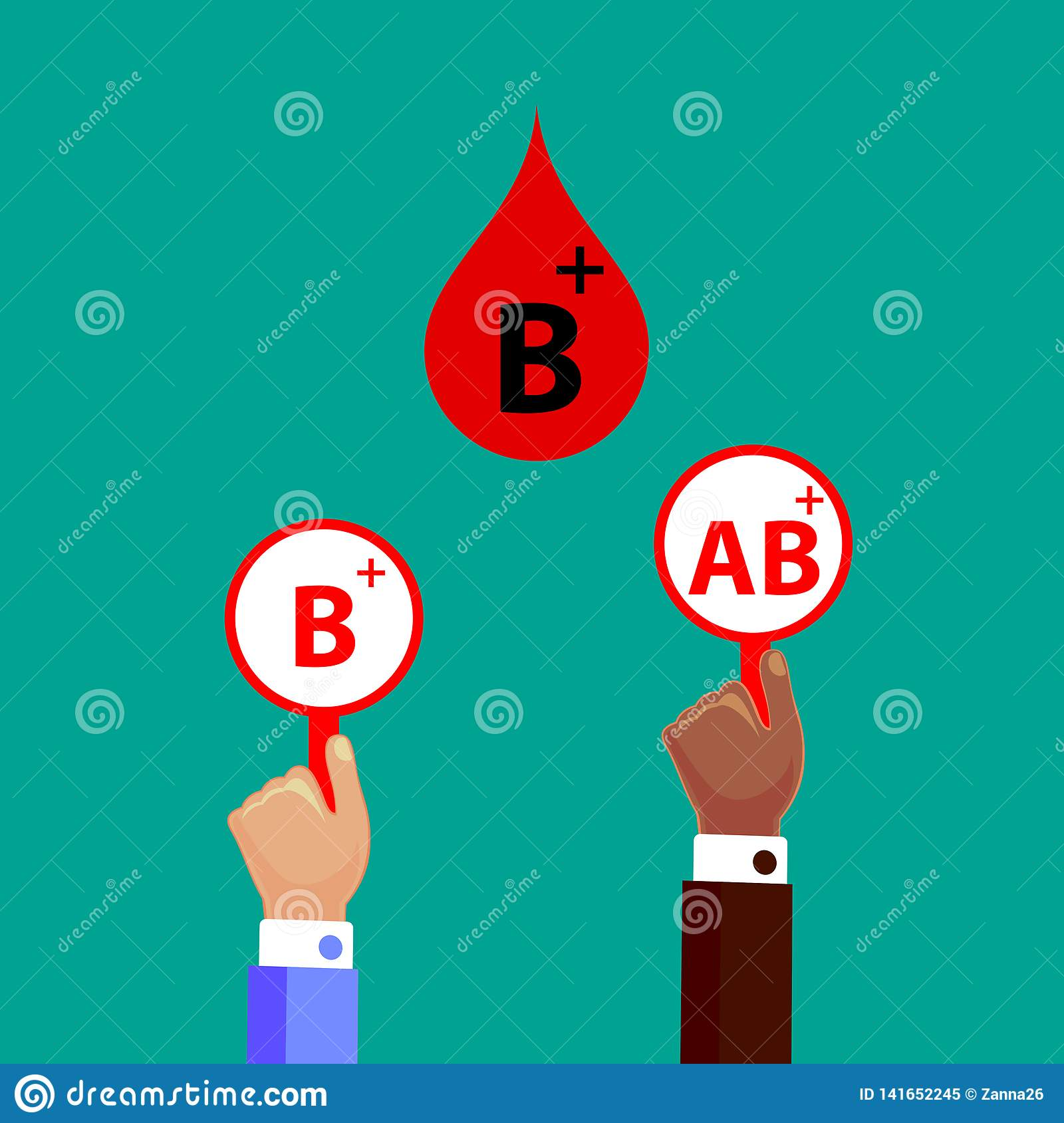 Blood Compatibility Donation  Blood B Positive  Stock Vector