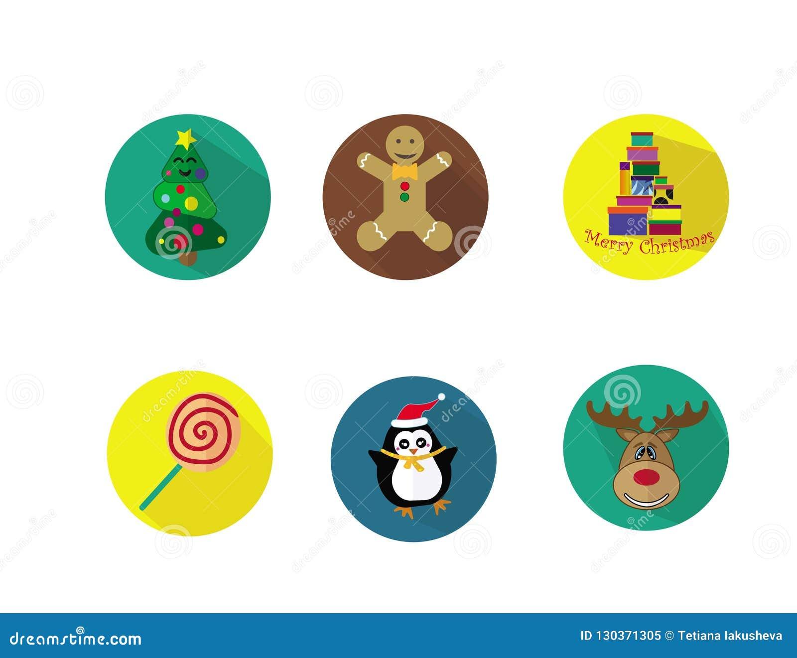 Christmas icons set. Colorful and funny.