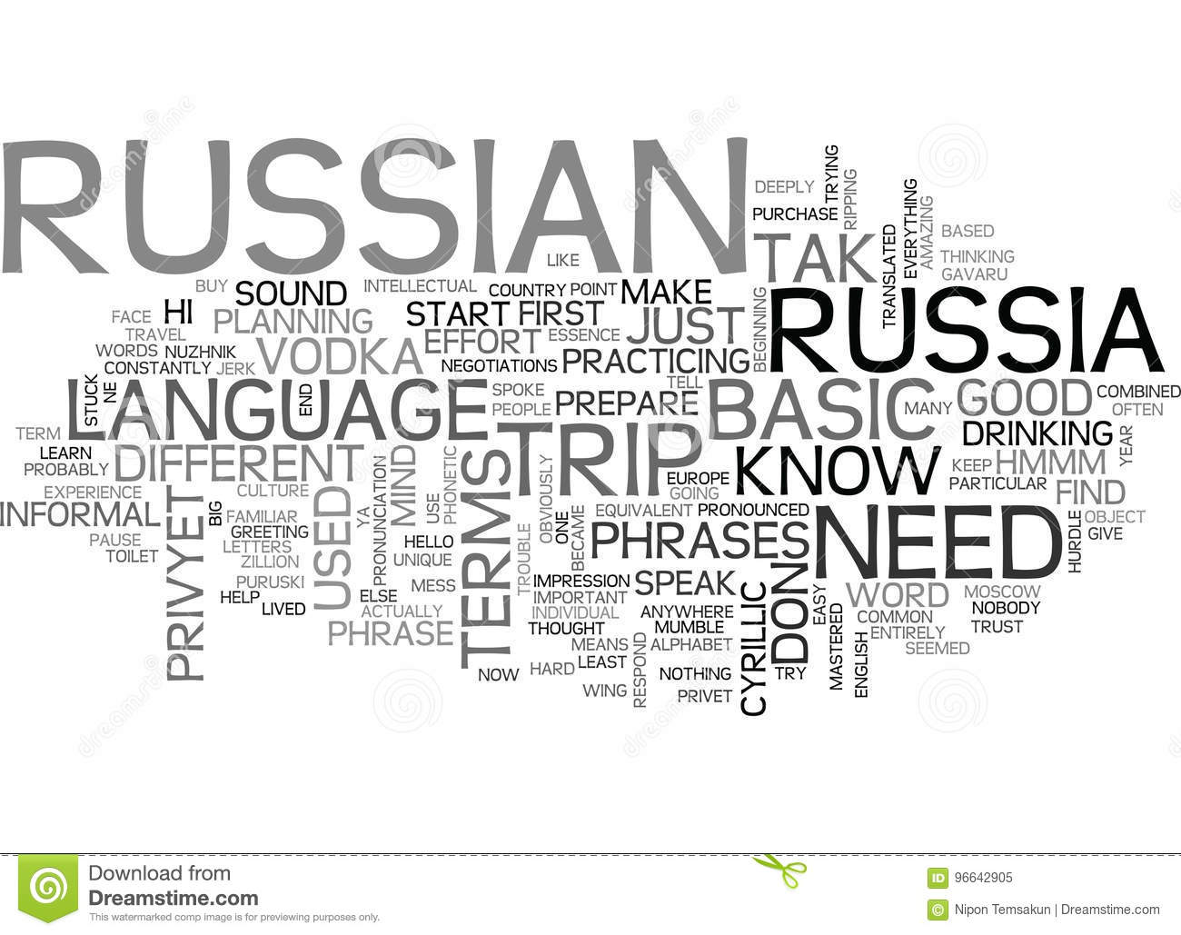 Basic Russian Terms For Your Trip To Russiaword Cloud Stock Image