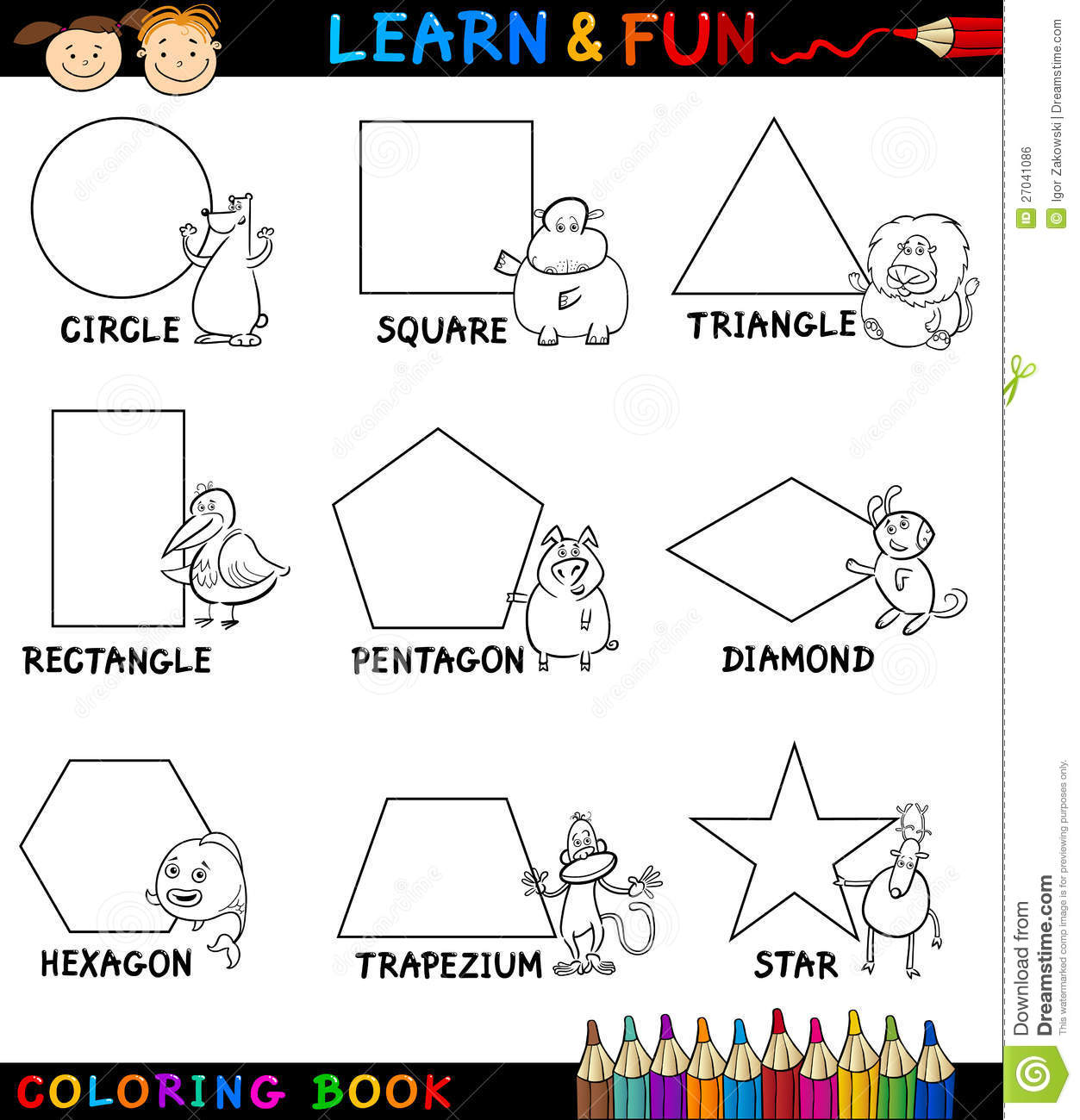 Basic Shapes With Animals For Coloring Royalty Free Stock ...