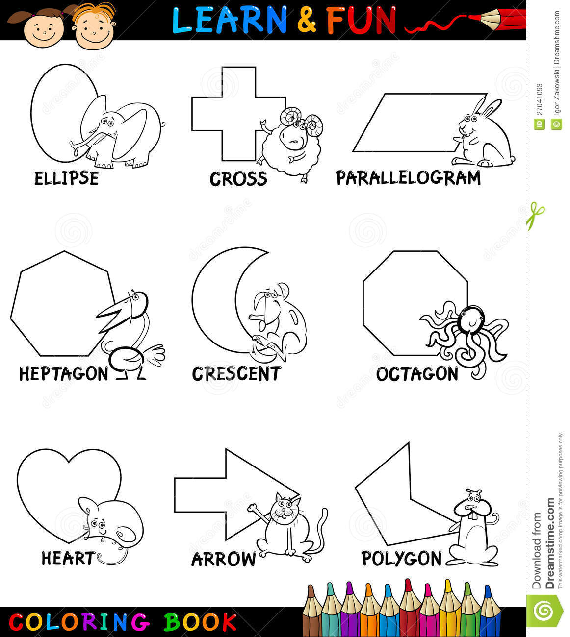 Coloring in shapes - Basic Shapes With Animals For Coloring