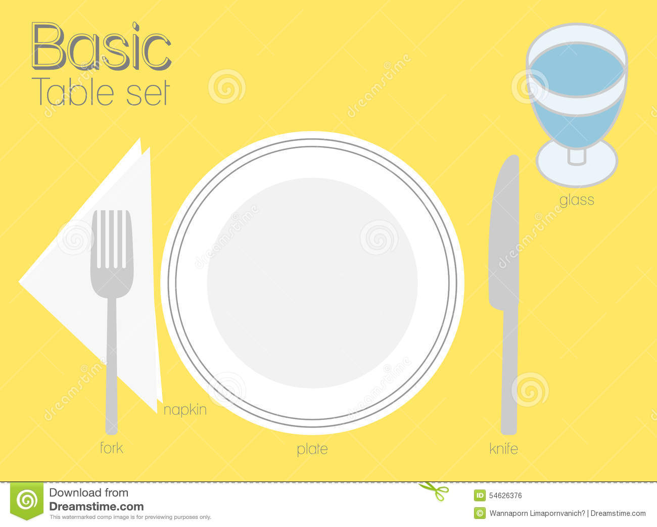 Basic table setting stock vector image of plate simply Simple table setting for lunch