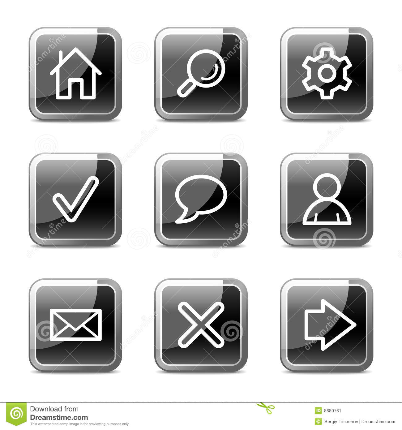Basic web icons, glossy buttons series