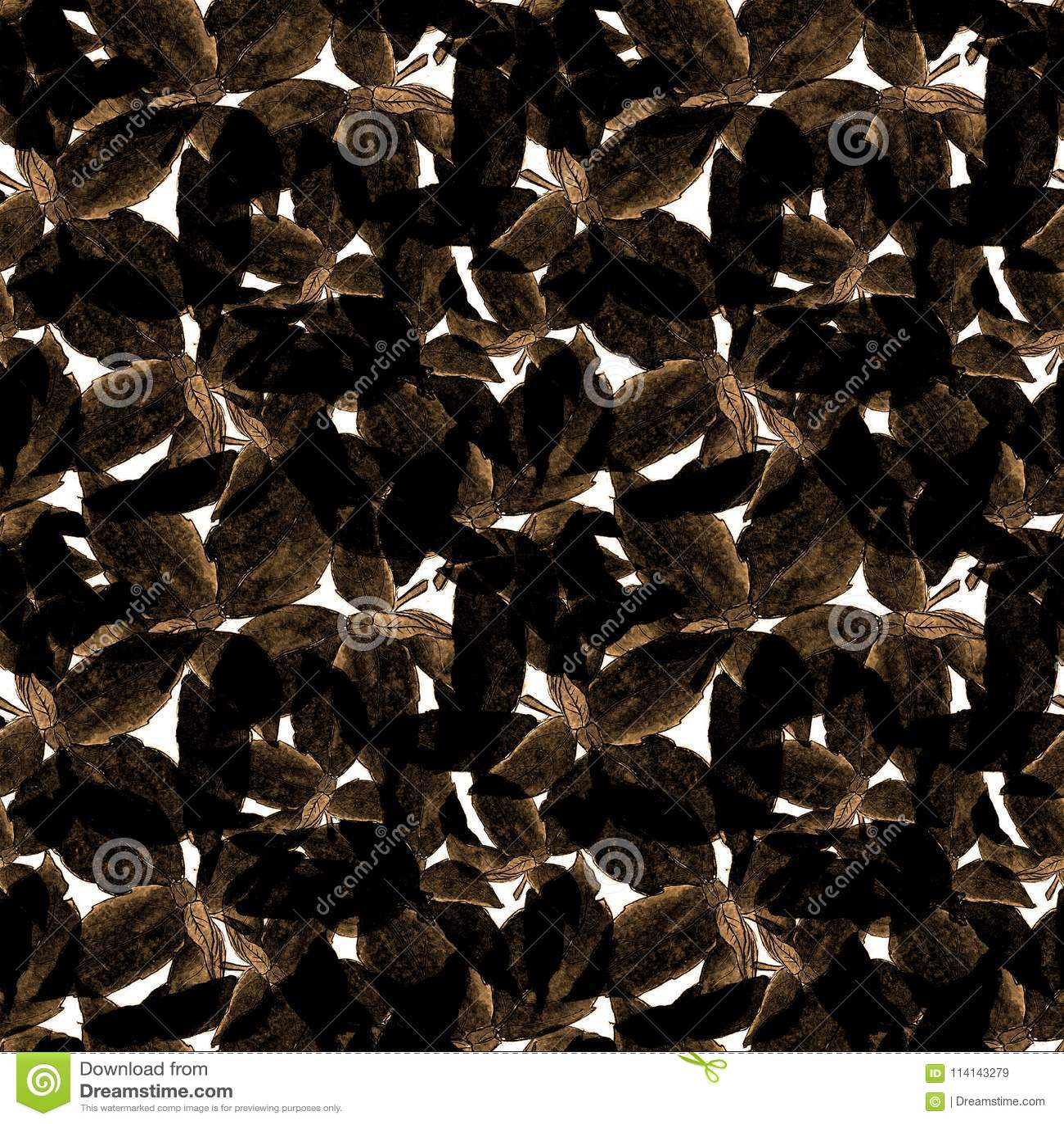Basil Leafs Seamless Pattern Fondo disegnato a mano di Repeatably con l erba ed il basilico della spezia