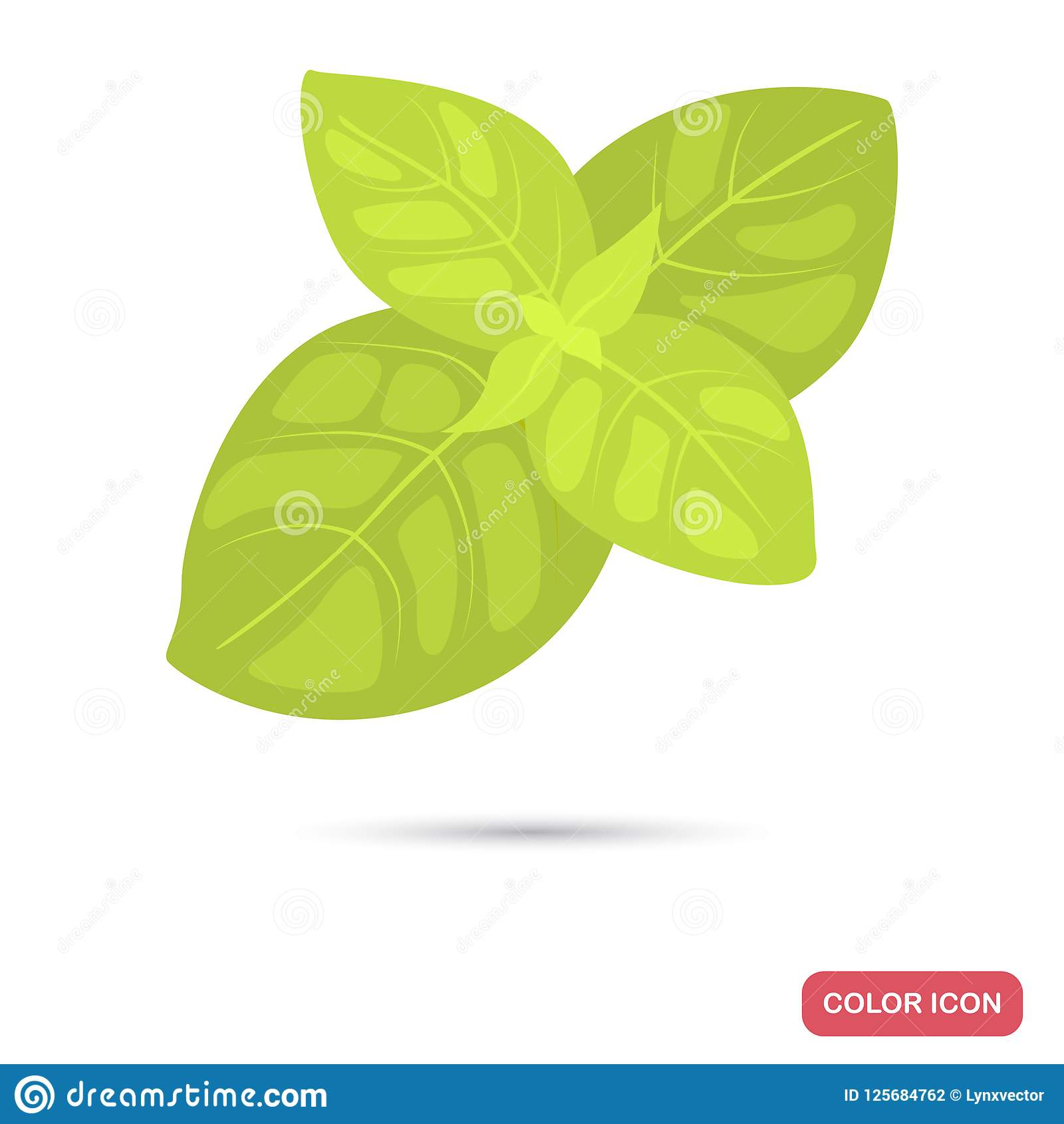 Basil Leaves Spice Color Flat Icon Stock Vector Illustration Of