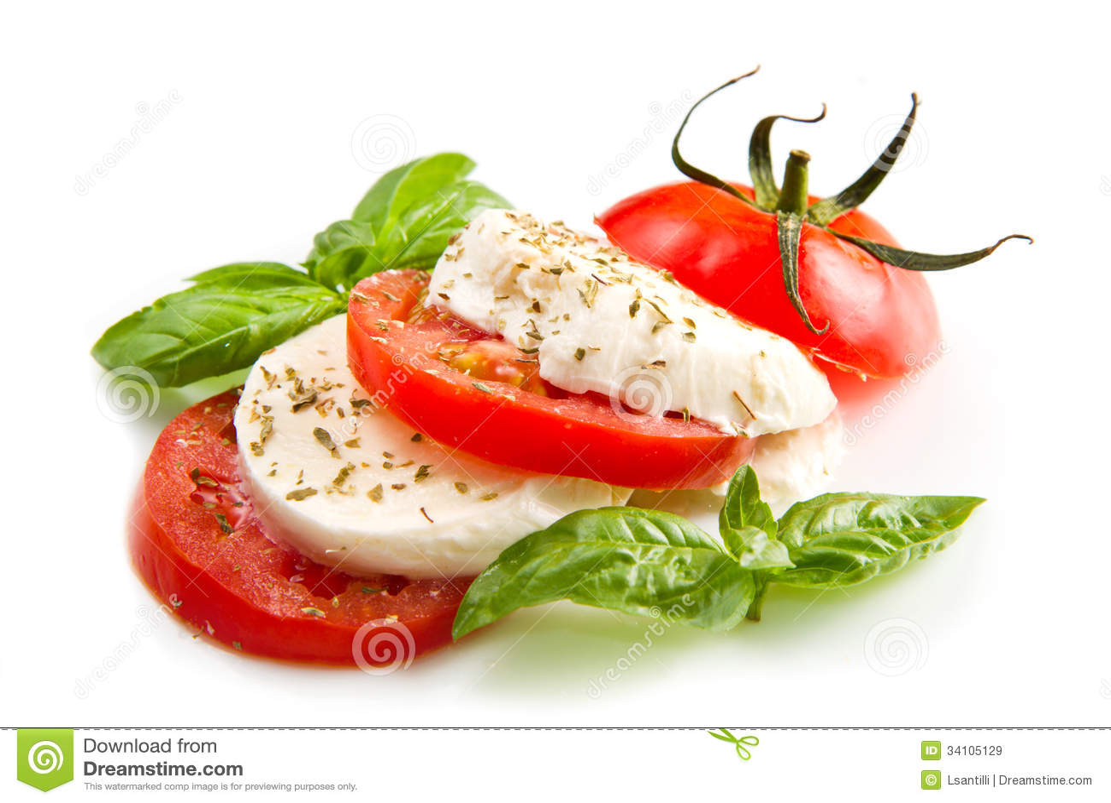 basilic de tomates de mozzarella sur un fond blanc images libres de droits image 34105129. Black Bedroom Furniture Sets. Home Design Ideas