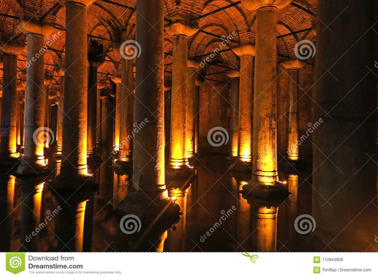 Download The Basilica Cistern   Underground Water Reservoir. Istanbul, Tu  Stock Photo   Image