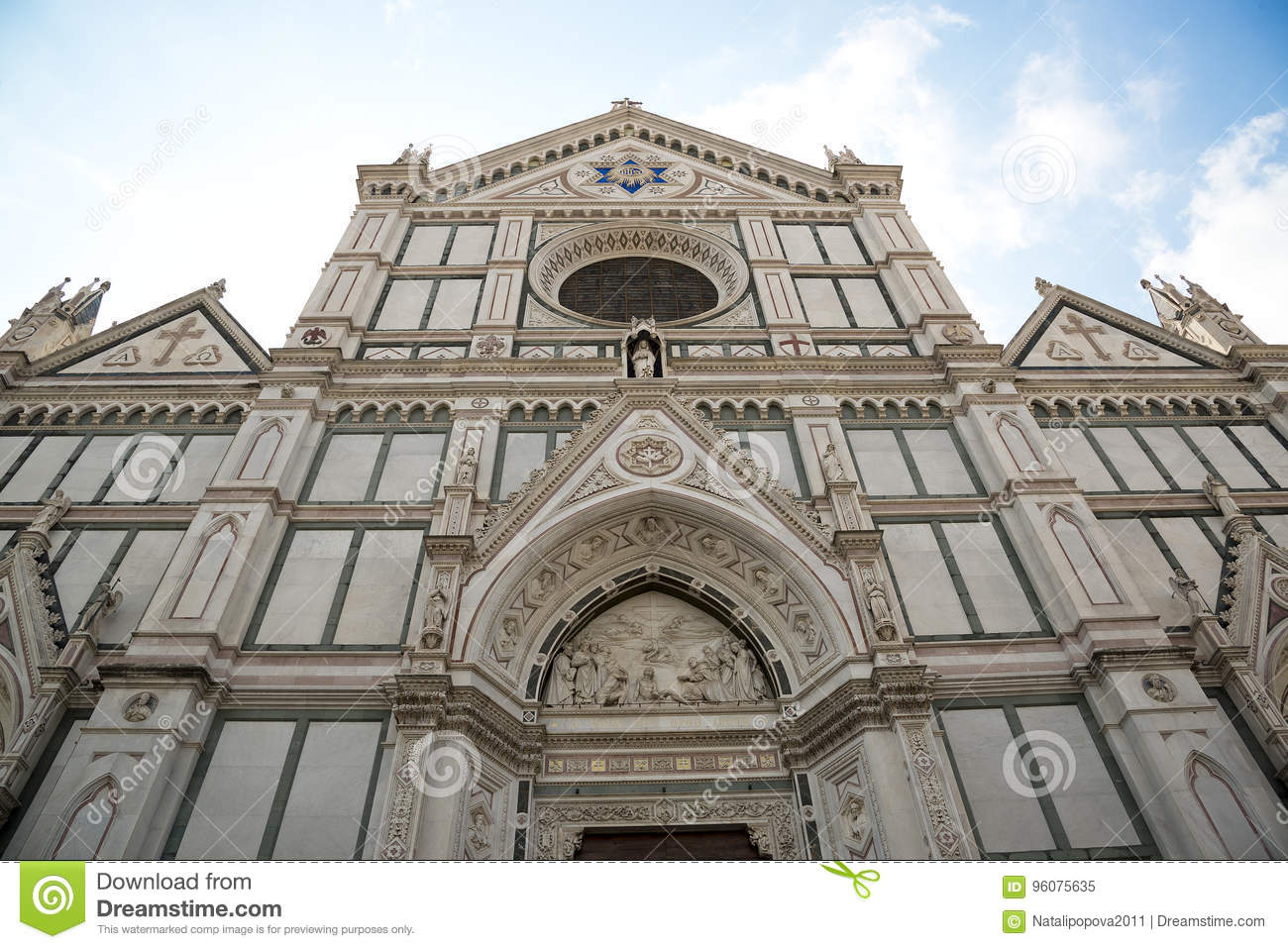 The Basilica di Santa Croce & x28;Basilica of the Holy Cross& x29; on square of the same name in Florence, Tuscany, Italy.