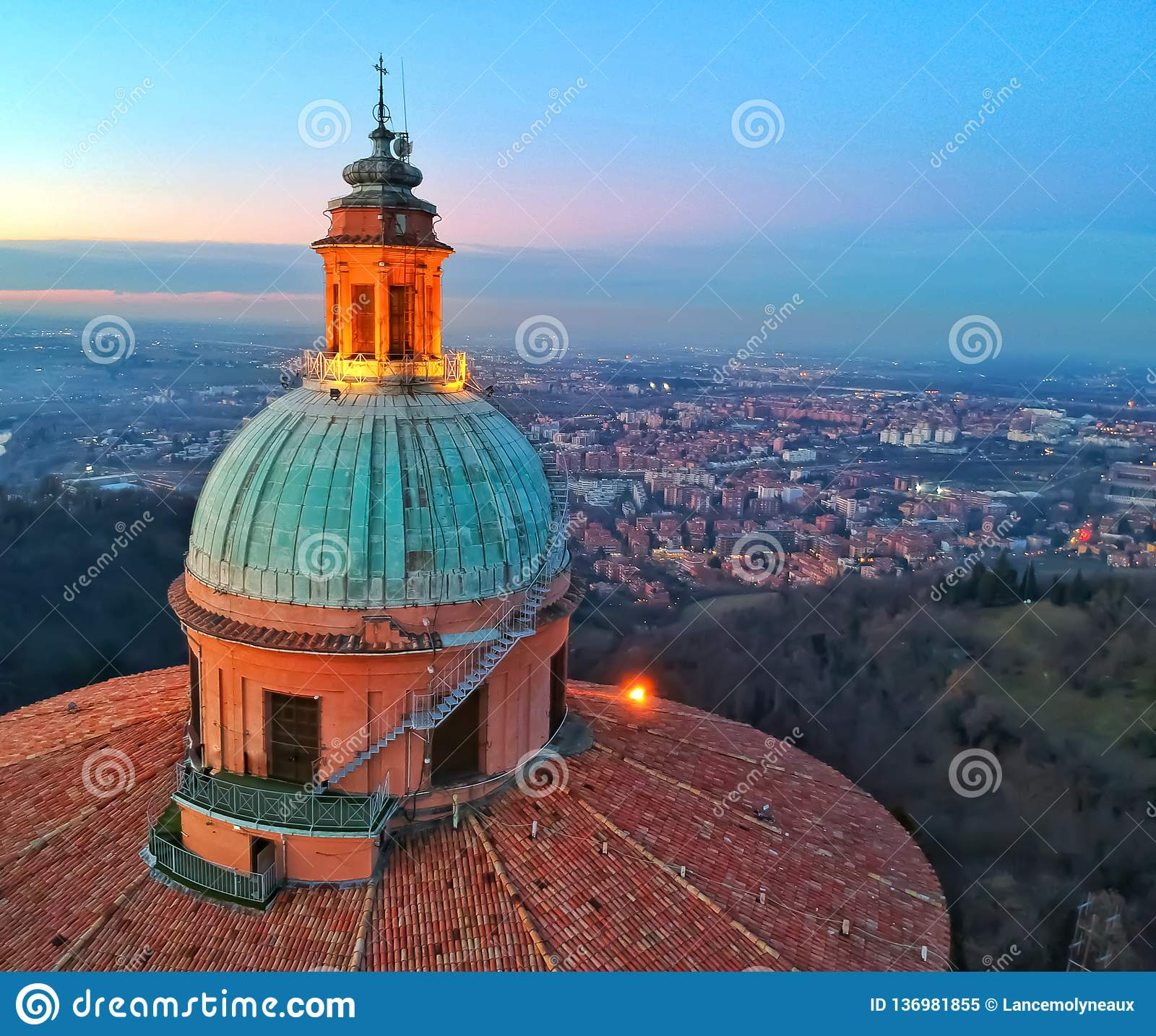 Basilica dome overlooking the city of Bologna.